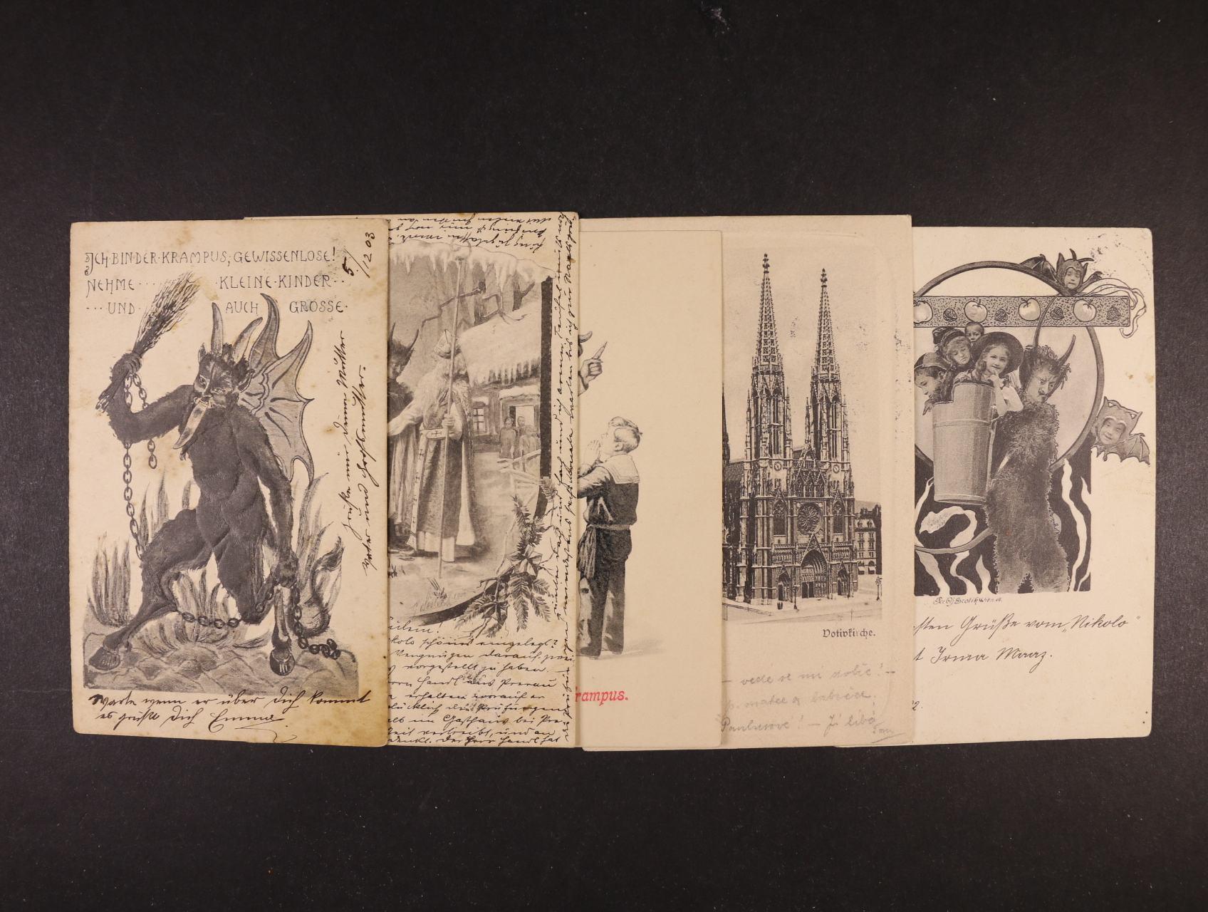 Čerti - sestava 5 ks jednobar. pohlednic, převážně dl. adresy, použité kolem r. 1900