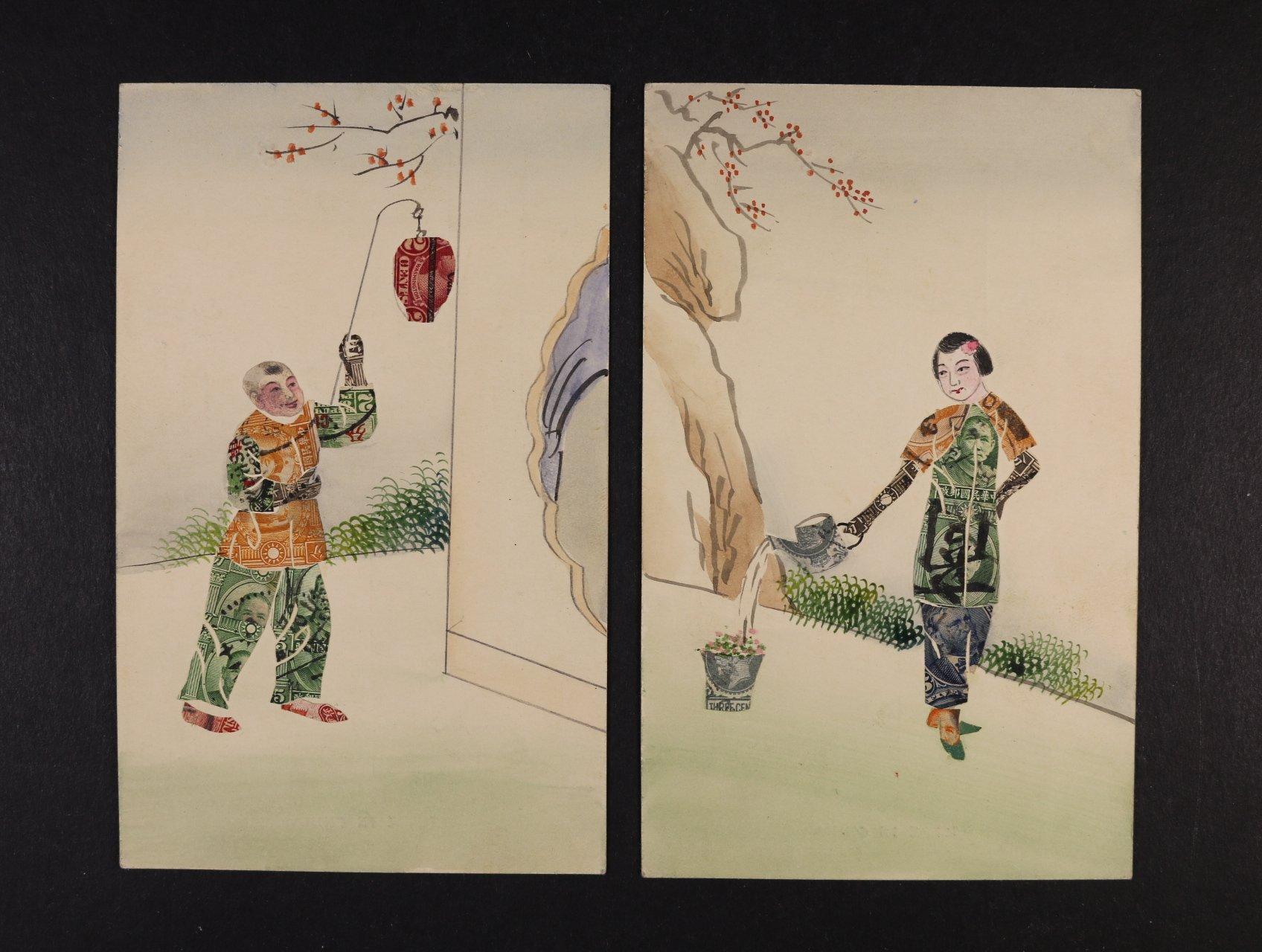 Japonské - dvě bar. koláže s postavami z pošt. známek, nepoužité, dobrá kvalita