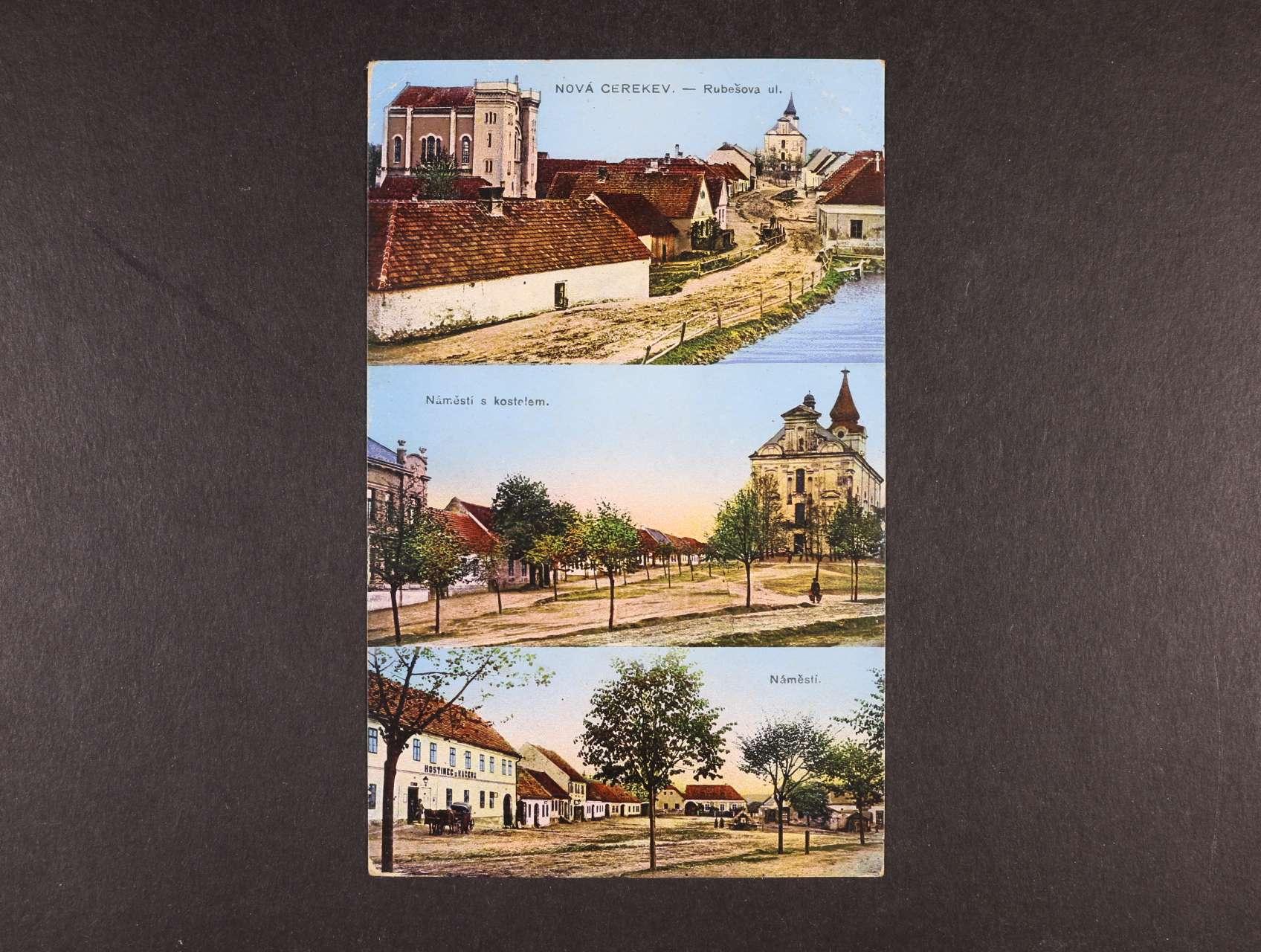 Judaika - bar. okénková pohlednice Nová Cerekev se sinagogou, použitá 1915, dobrá kvalita