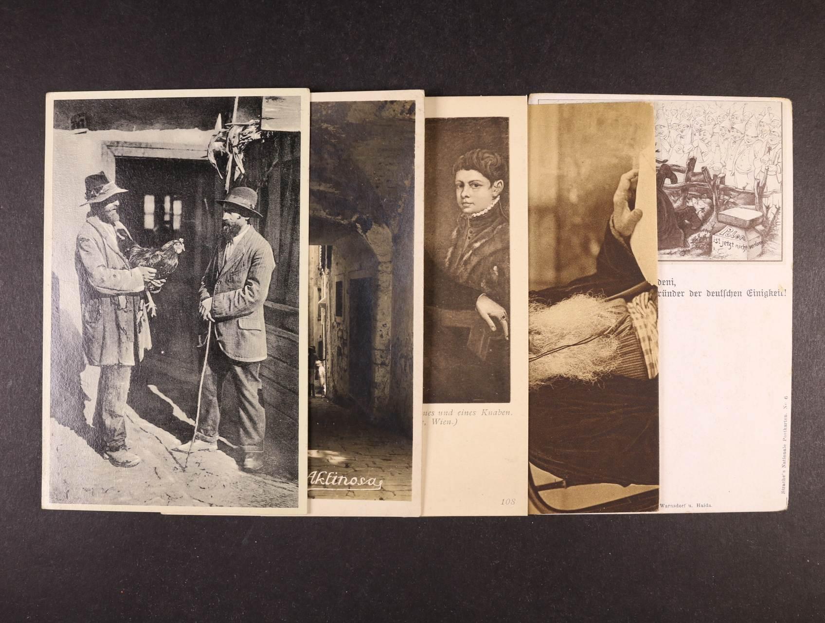 Judaika - sestava 10 ks bar. i jednobar. pohlednic s různými náměty, použité i nepoužité