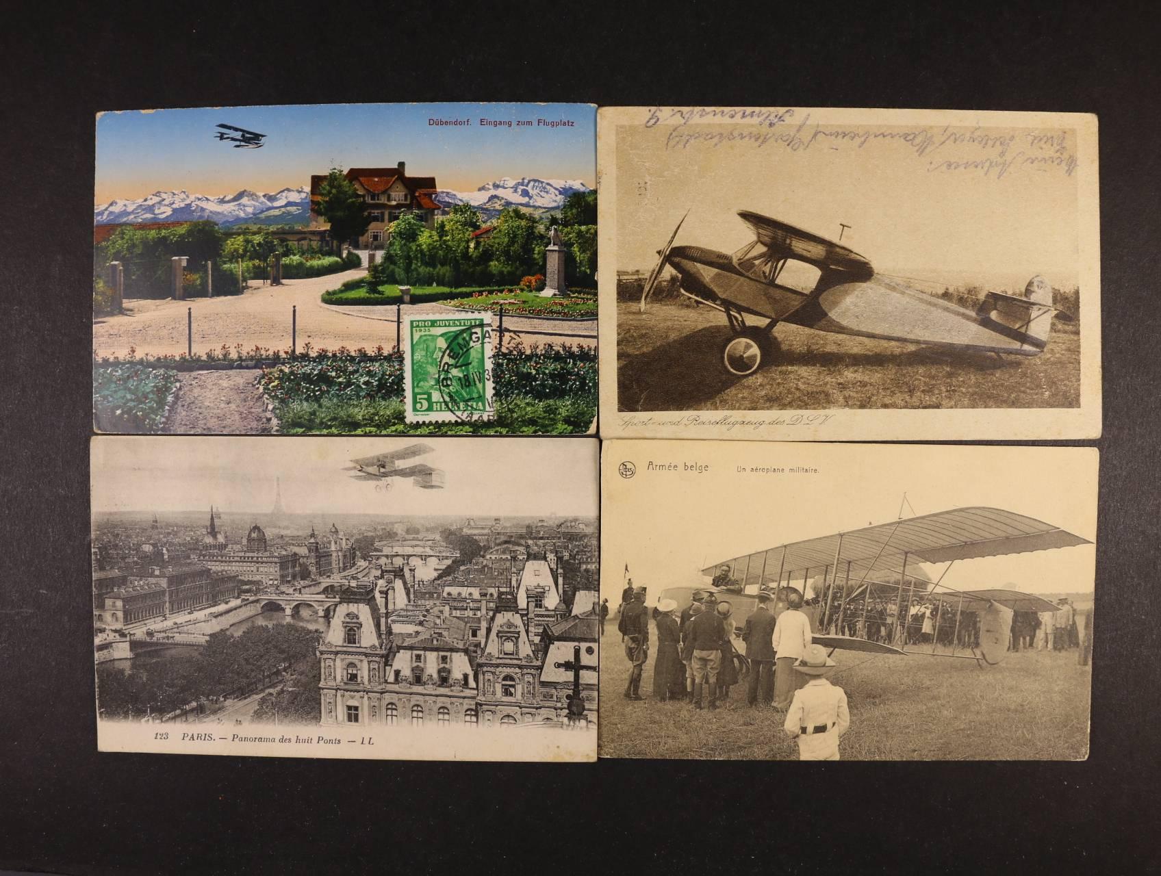 Letadla - sestava 11 ks, převážně jednobar. pohlednic, použité i nepoužité, zajímavé