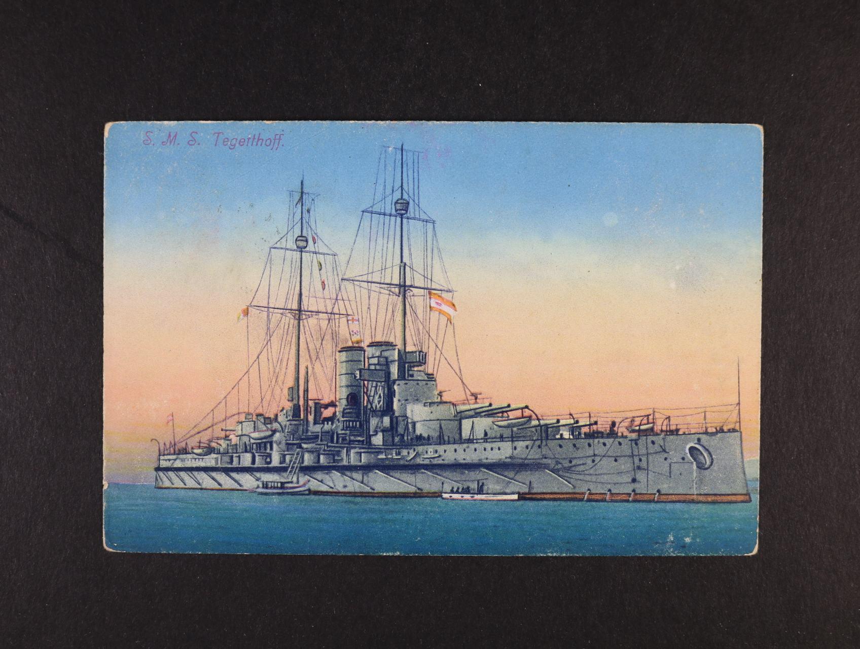Lodě - bar. pohlednice S.M.S. TEGETTHOFF, použitá 1916