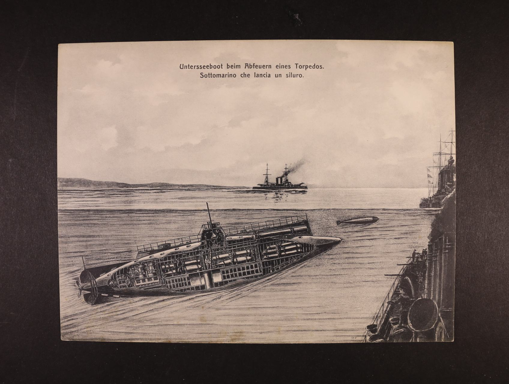 Lodě - jednobar. pohlednice formátu 175 x 240 mm s loděmi  Untersseeboot beim Abfeuern ..., dl. adresa, nepoužitá, dobrá kvalita