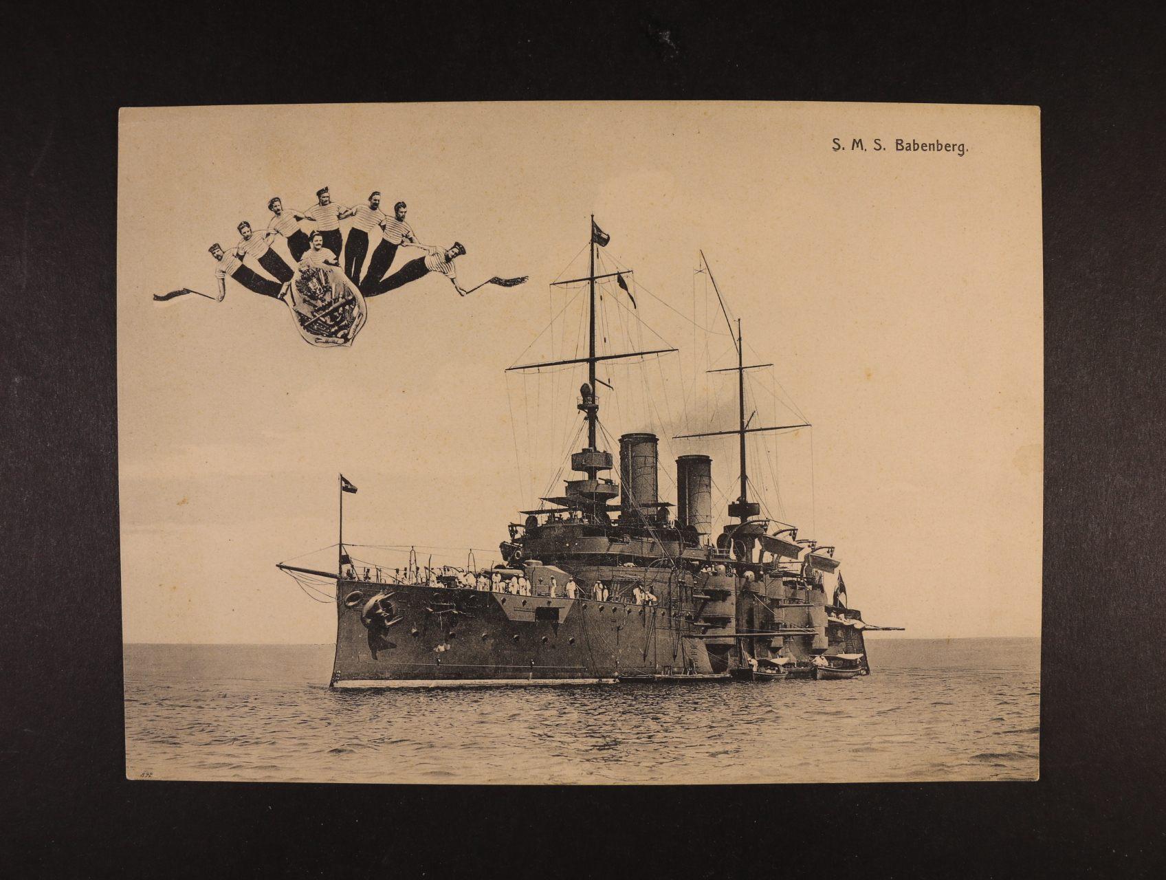 Lodě - S.M.S. BABENBERG - jednobar. pohlednice formátu 175 x 240 mm, dl. adresa, nepoužitá, lux. kvalita
