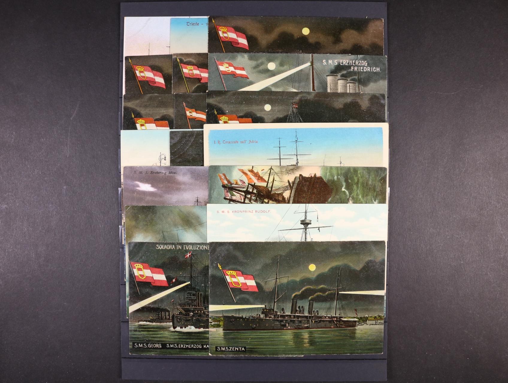 Lodě - sestava 18 ks bar. pohlednic