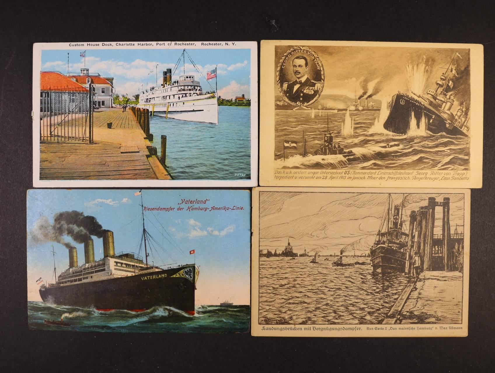 Lodě - sestava 40 ks bar. i jednobar. pohlednic lodí, interiérů z let 1915 - 30