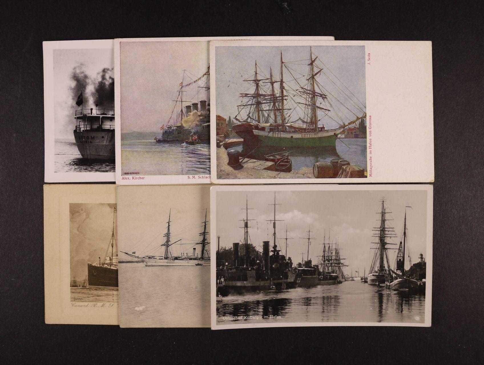 Lodě - sestava 40 ks jednobar. i bar. pohlednic, převážně lodí z období R-U, použité i nepoužité