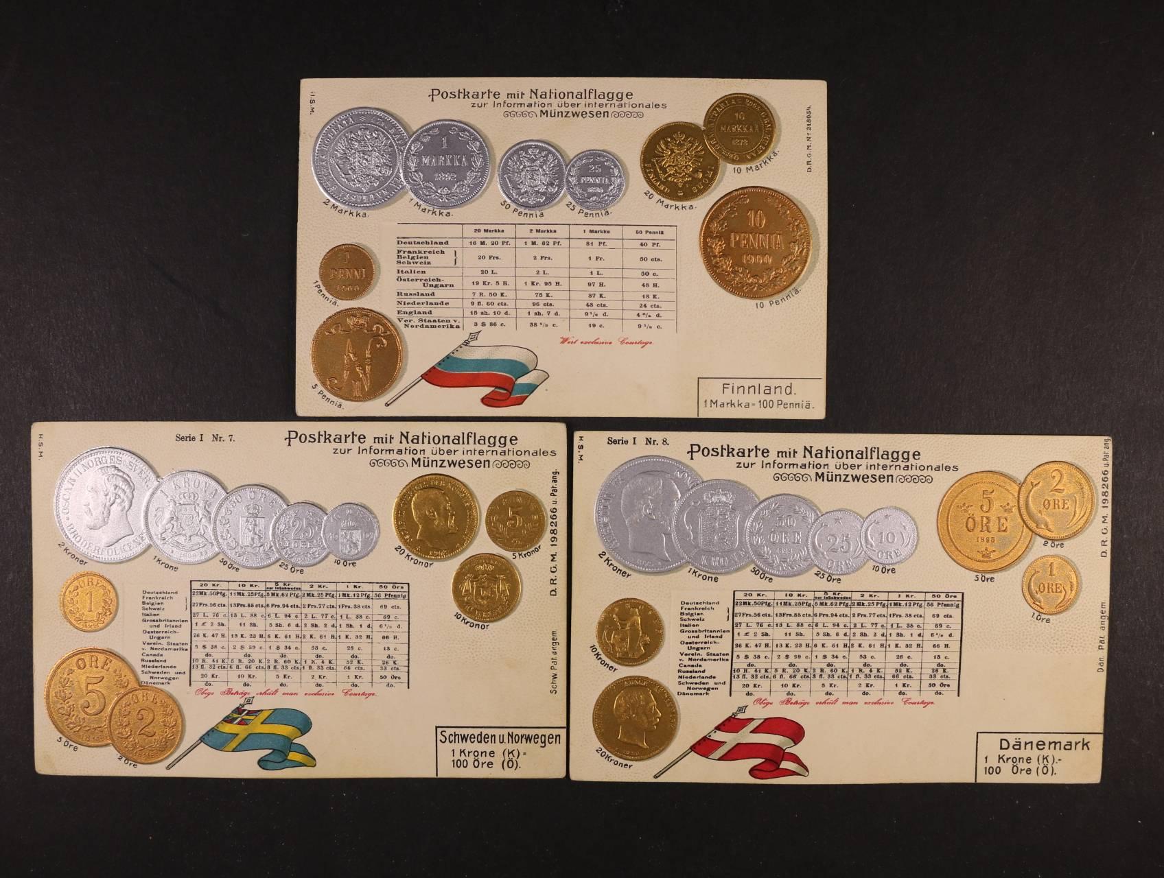 Mince - sestava 3 ks bar. reliéfních litografií s mincemi Dánska, Finska a Norska, nepoužité, dobrá kvalita