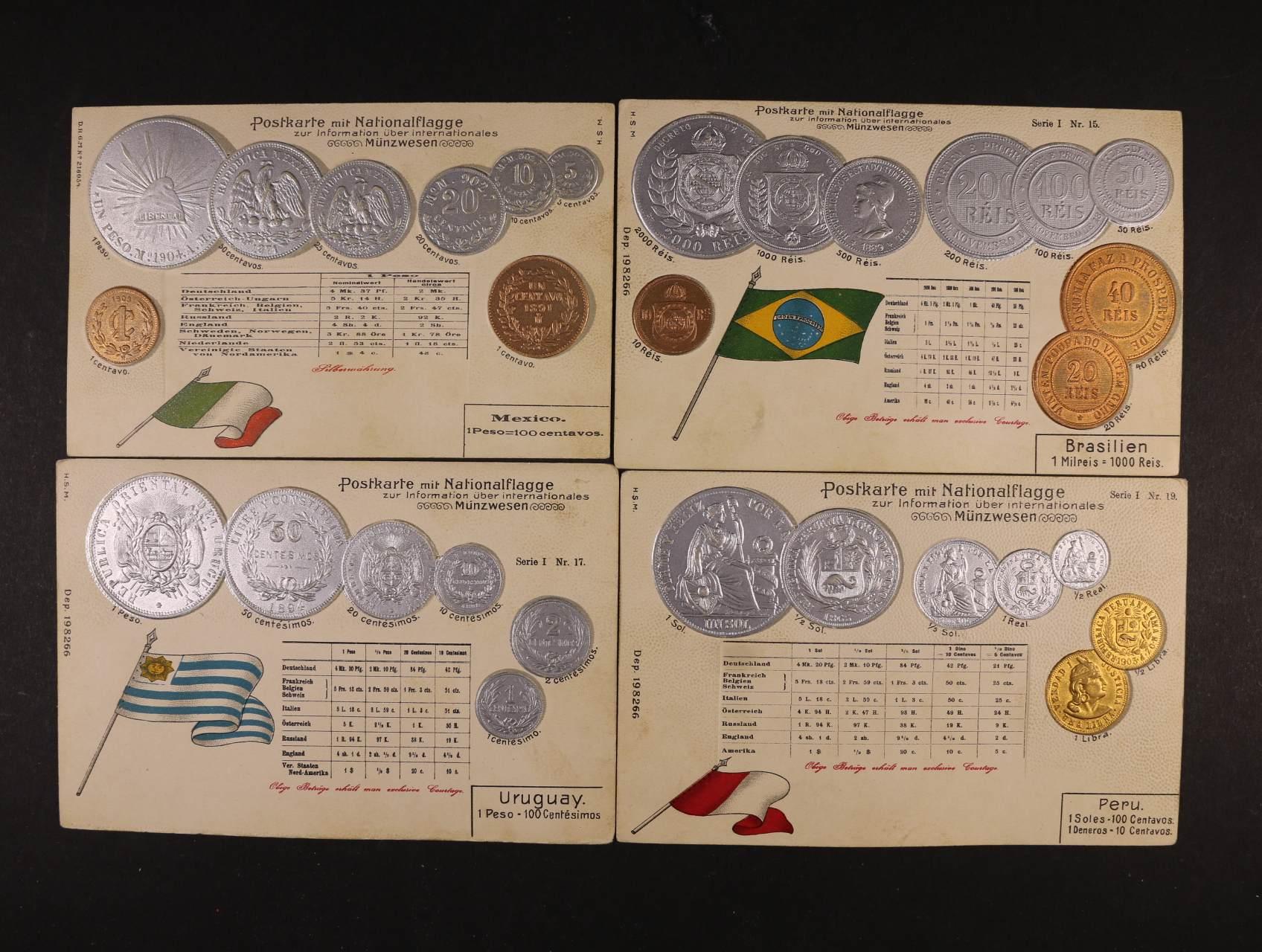 Mince - sestava 4 ks bar. reliéfních litografií s mincemi Brazílie, Mexika, Peru a Uruguaye, nepoužité