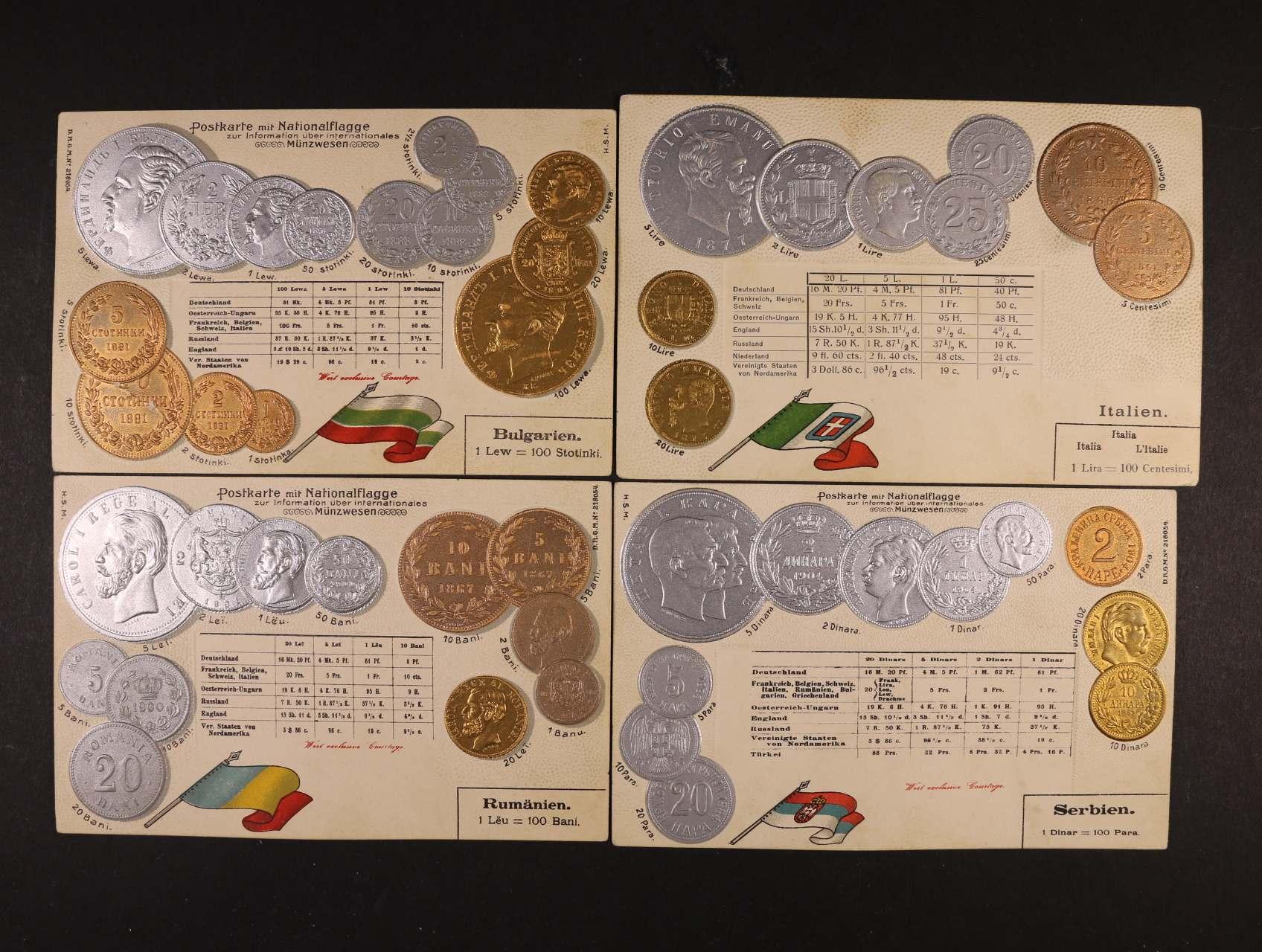 Mince - sestava 4 ks bar. reliéfních litografií s mincemi Bulharska, Itálie, Rumunska a Srbska, nepoužité, dobrá kvalita