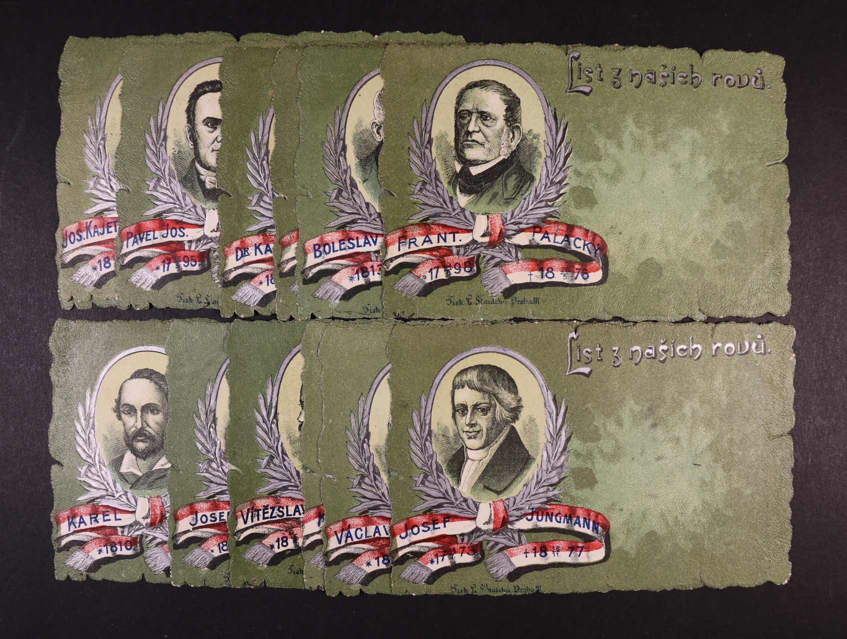 Osobnosti - cestava 13 ks bar. ozdobných pohlednice  (mj. Fr. Palacký, J. Kollár, J.K. Tyl, P.J. Šafařík, J. Jungmann), nepoužité, lux. kvalita