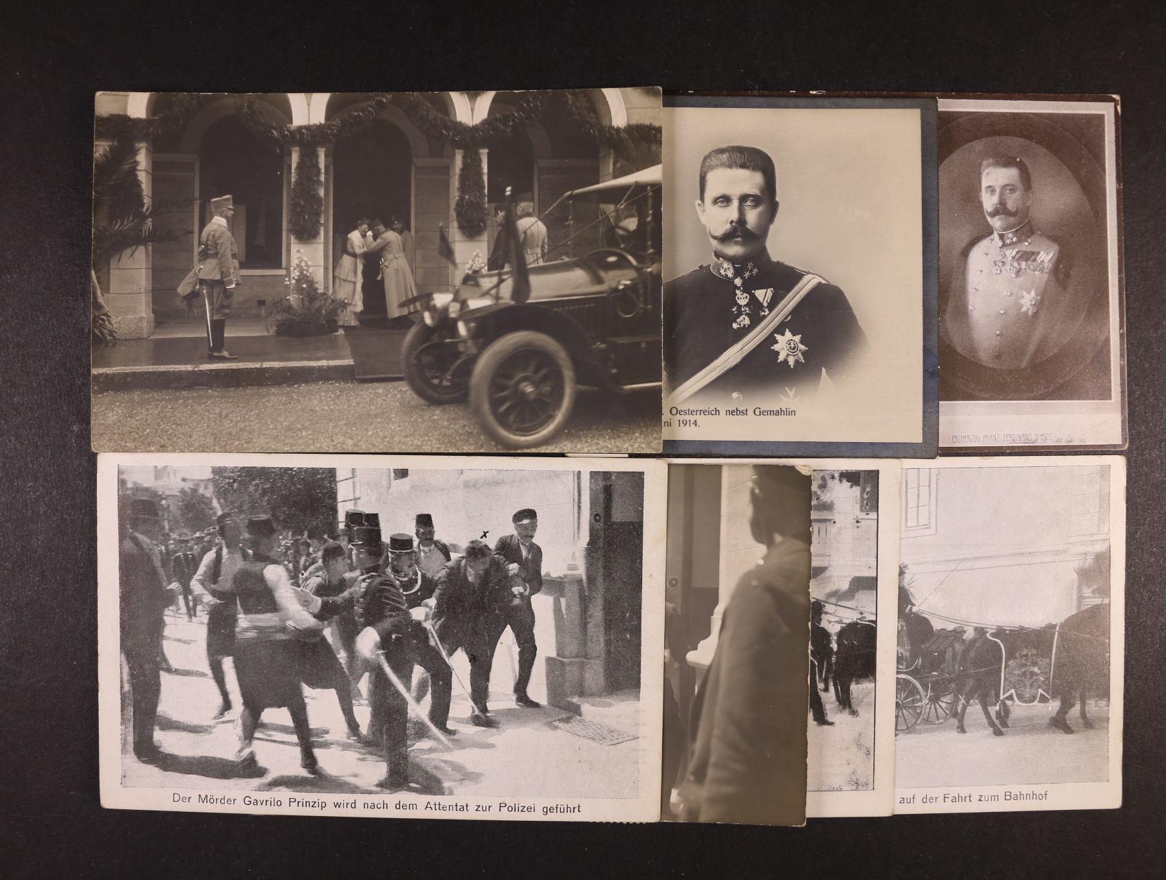 Osobnosti - sestava 7 ks jednobar. pohlednic s námětem atentátu a pohřbu Erzherzog Franz Ferdinanda, nepoužité, zajímavé
