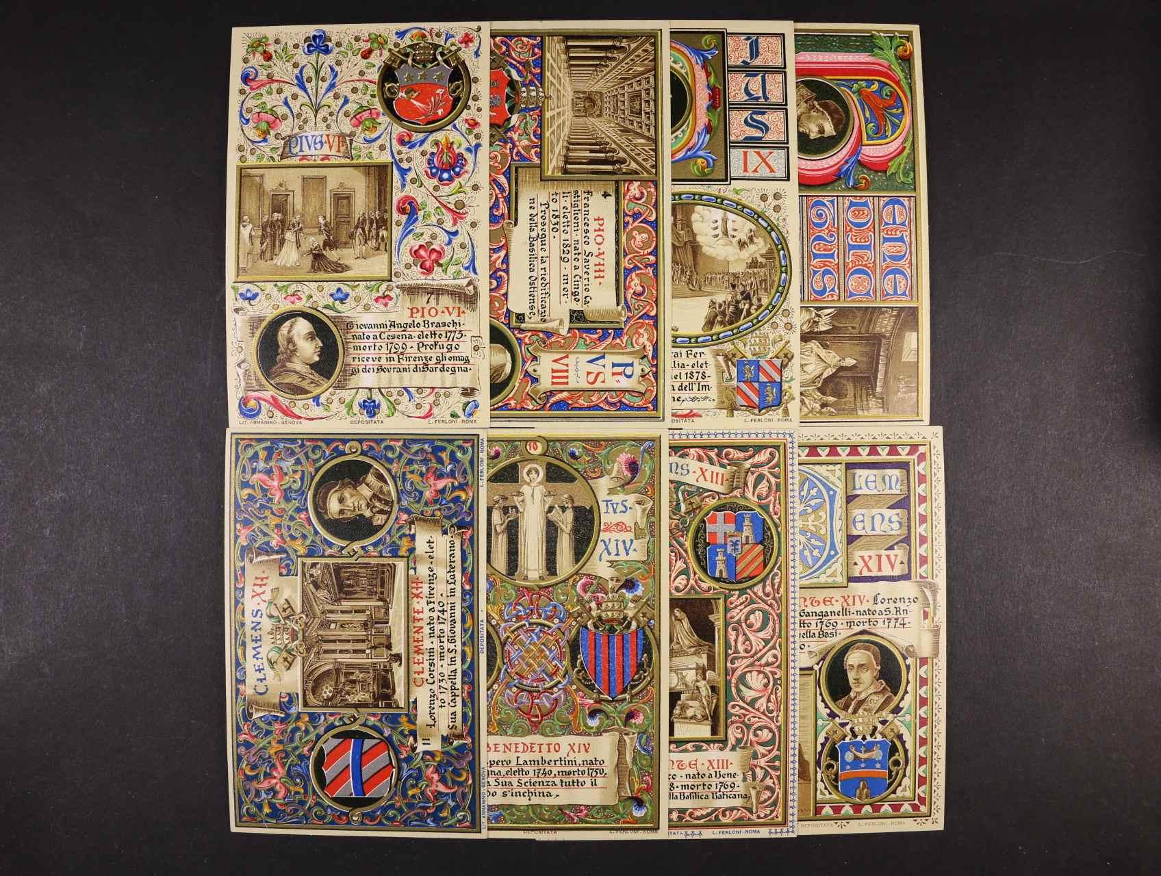 Osobnosti - sestava 9 ks bar. litograf. koláží s portréty papežů, dl. adresy, nepoužité, velmi dobrá kvalita