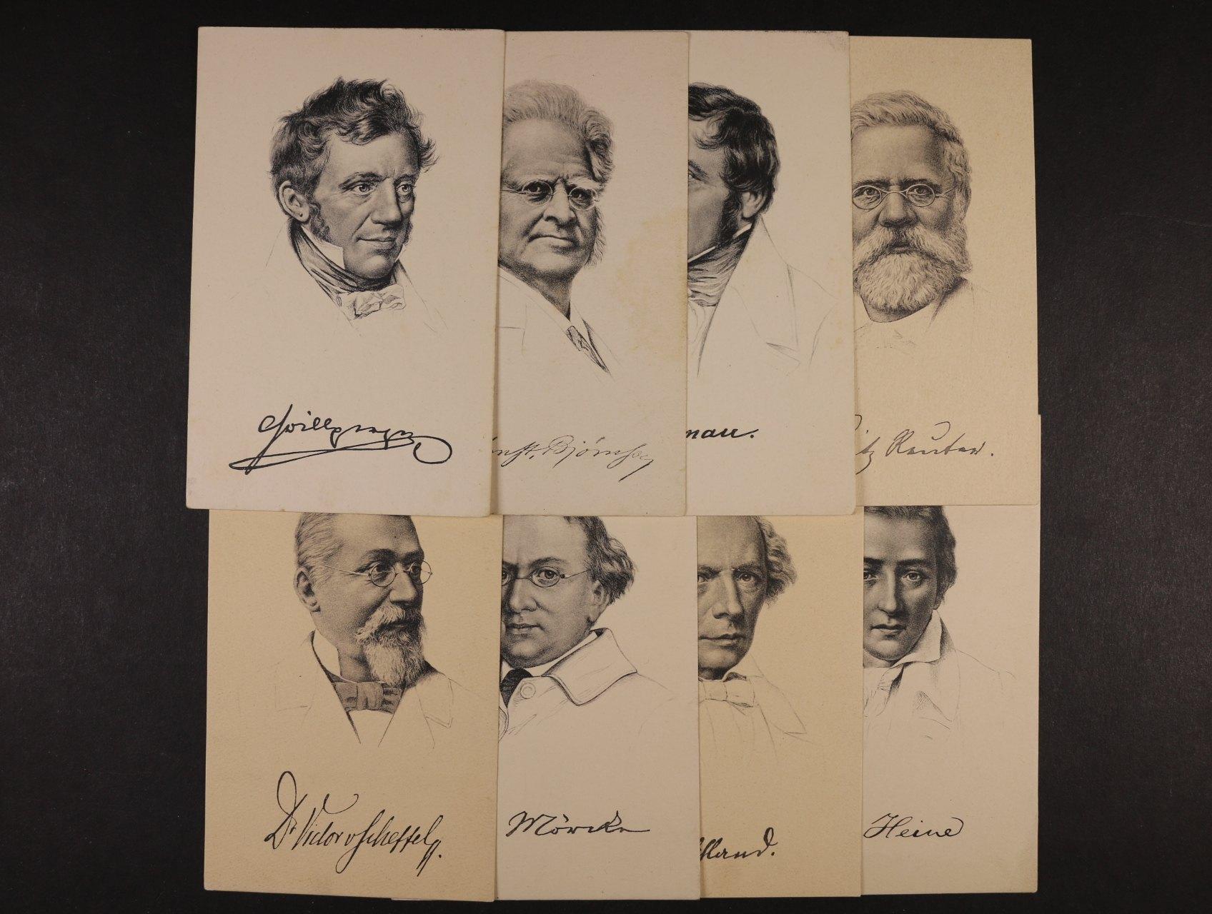 Osobnosti - sestava 9 ks nepoužitých jednobar. pohlednic s portréty H. Heine, F. Reuter, N. Lendau, R. Wagner, F. v List, 1x reliéfní A. Komenský