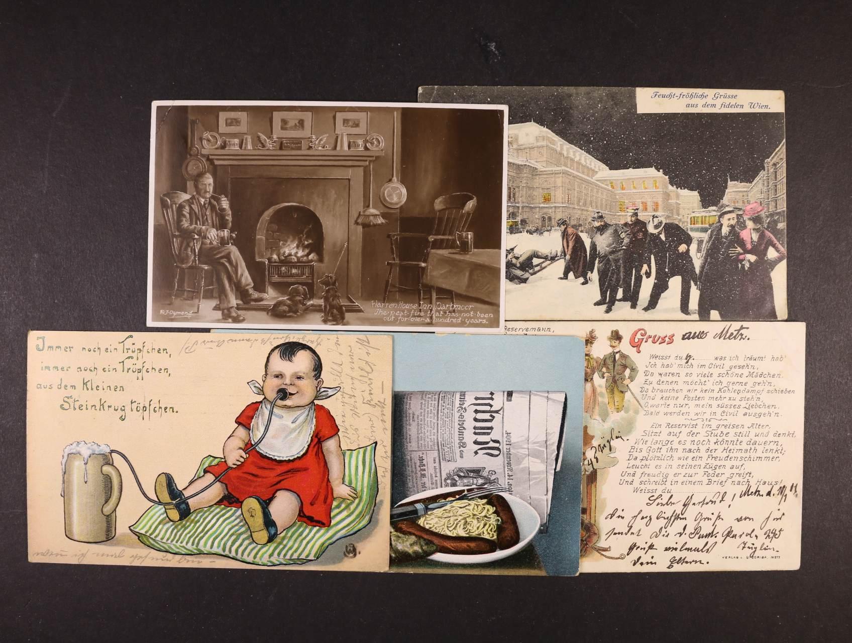 Pijácké - sestava 30 ks bar. i jednobar. pohlednic s pijáckými motivy, použité i nepoužité, zajímavé