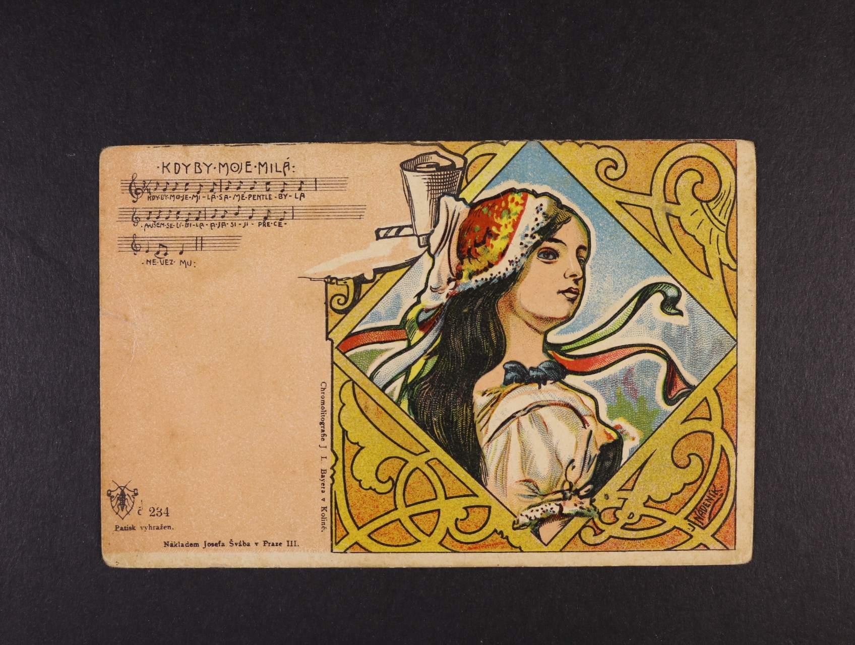 Šváb - bar. litograf. pohlednice č. 234