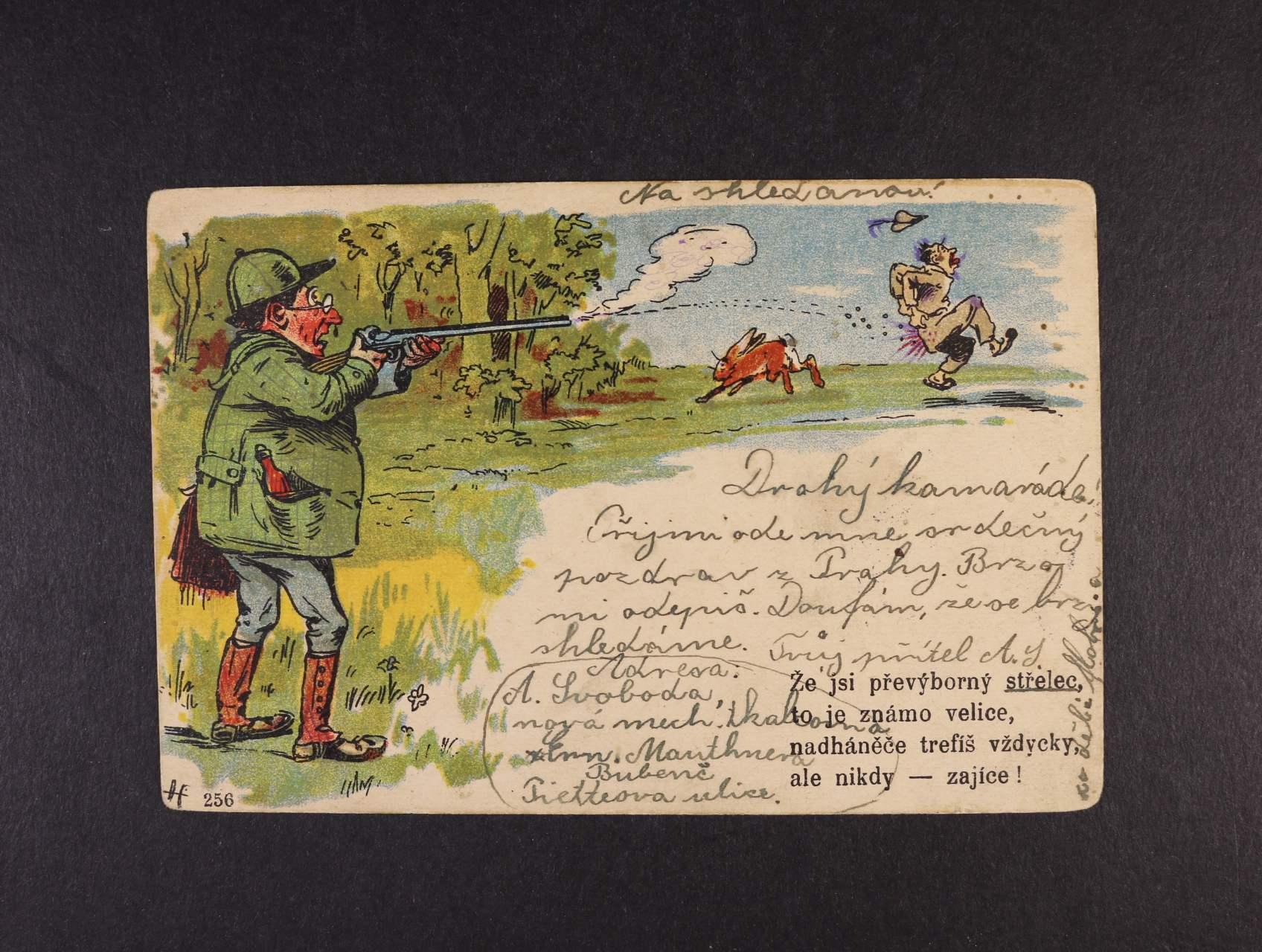 Šváb - bar. litograf. pohlednice č. 256 myslivecký motiv, použitá 1903