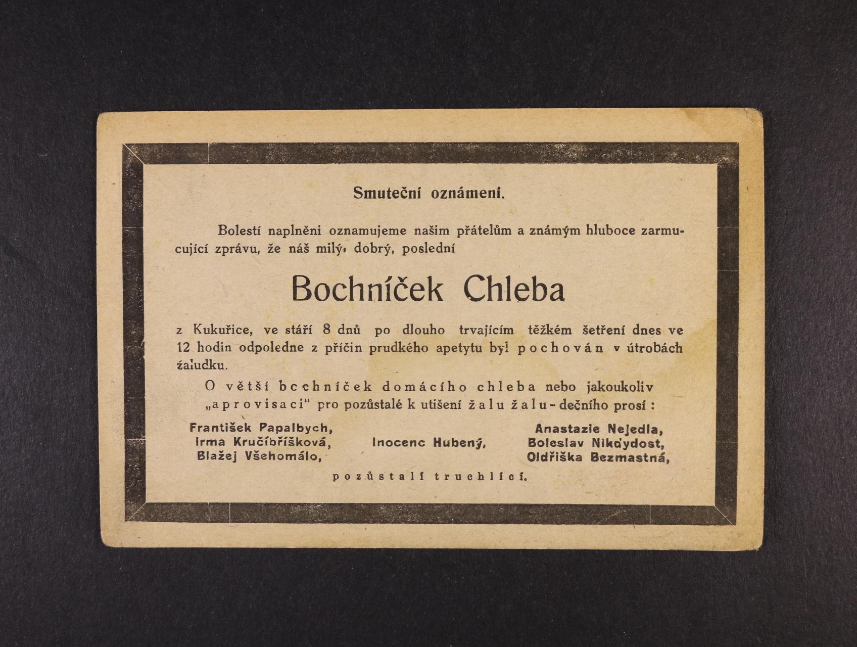 Šváb - jednobar. nečíslovaná pohlednice - smuteční oznámení, nepoužitá, kvalita k prohlédnutí