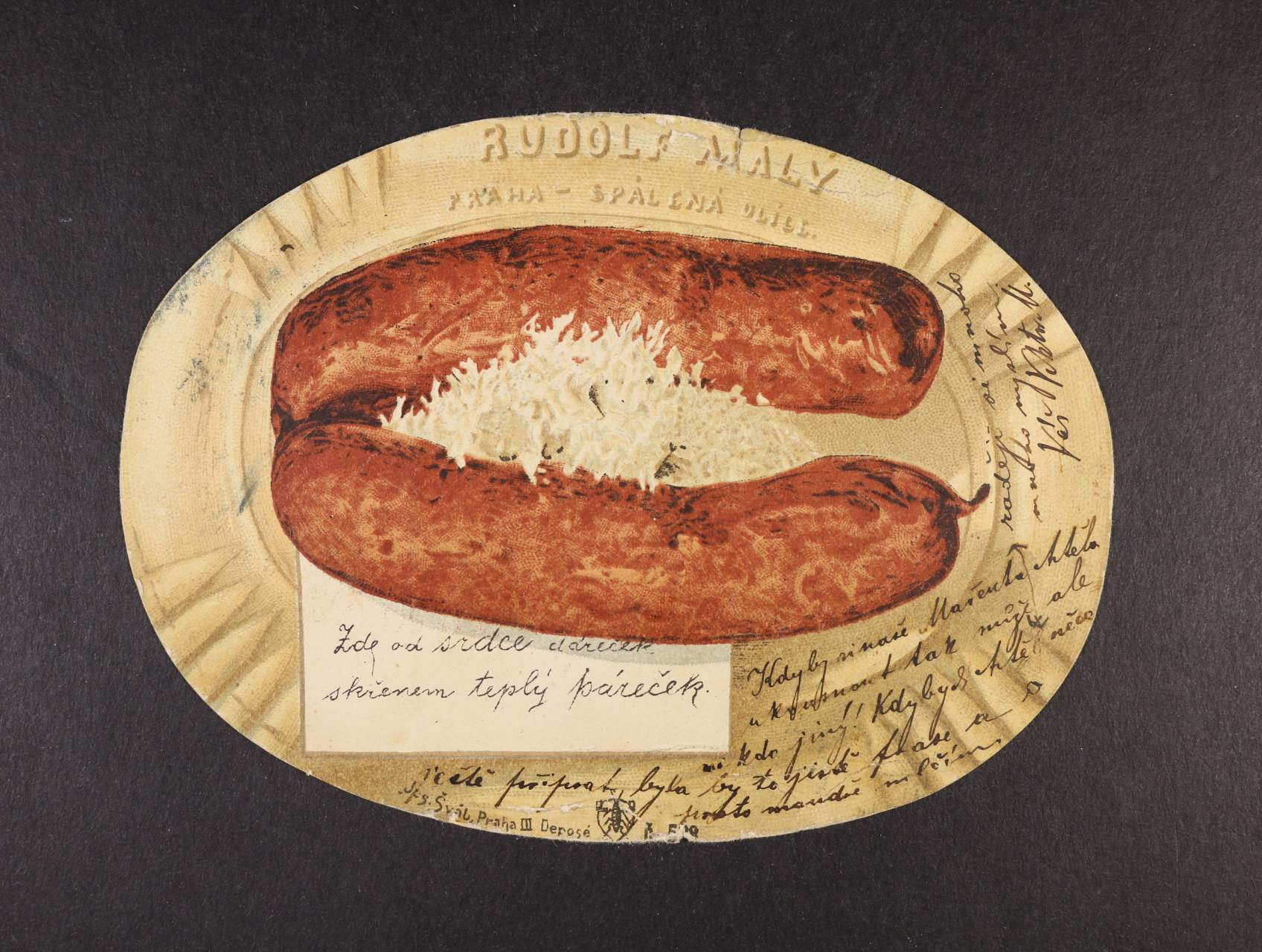 Šváb - rekl. bar. pohlednice č. 518, na horním a spodním okraji zvrásněná, použitá 1902