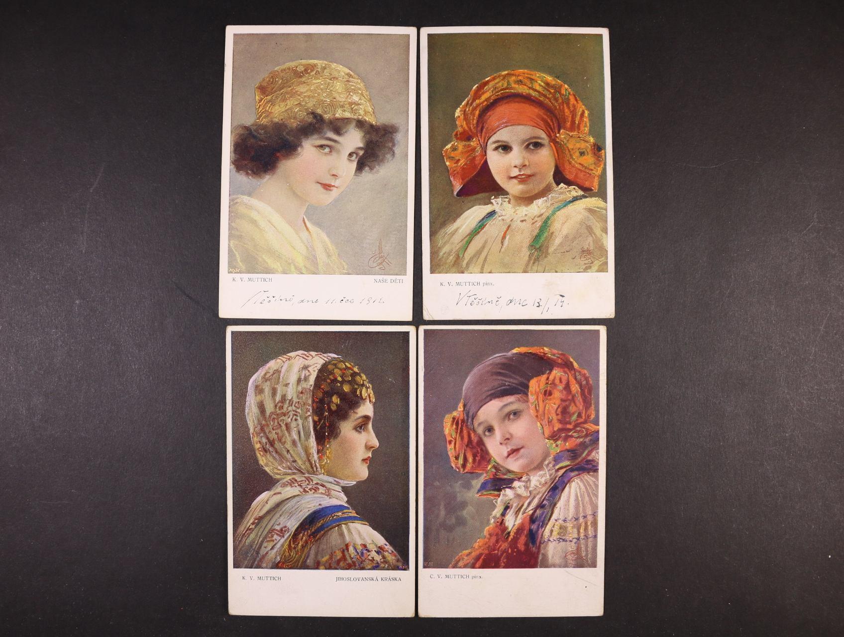 Umělecké - sestava 76 ks bar. i jednobar. pohlednic, mj. Mutich, Mánes ..., použité v letech 1910 - 1930, zajímavé, uloženo v bílém šanonu