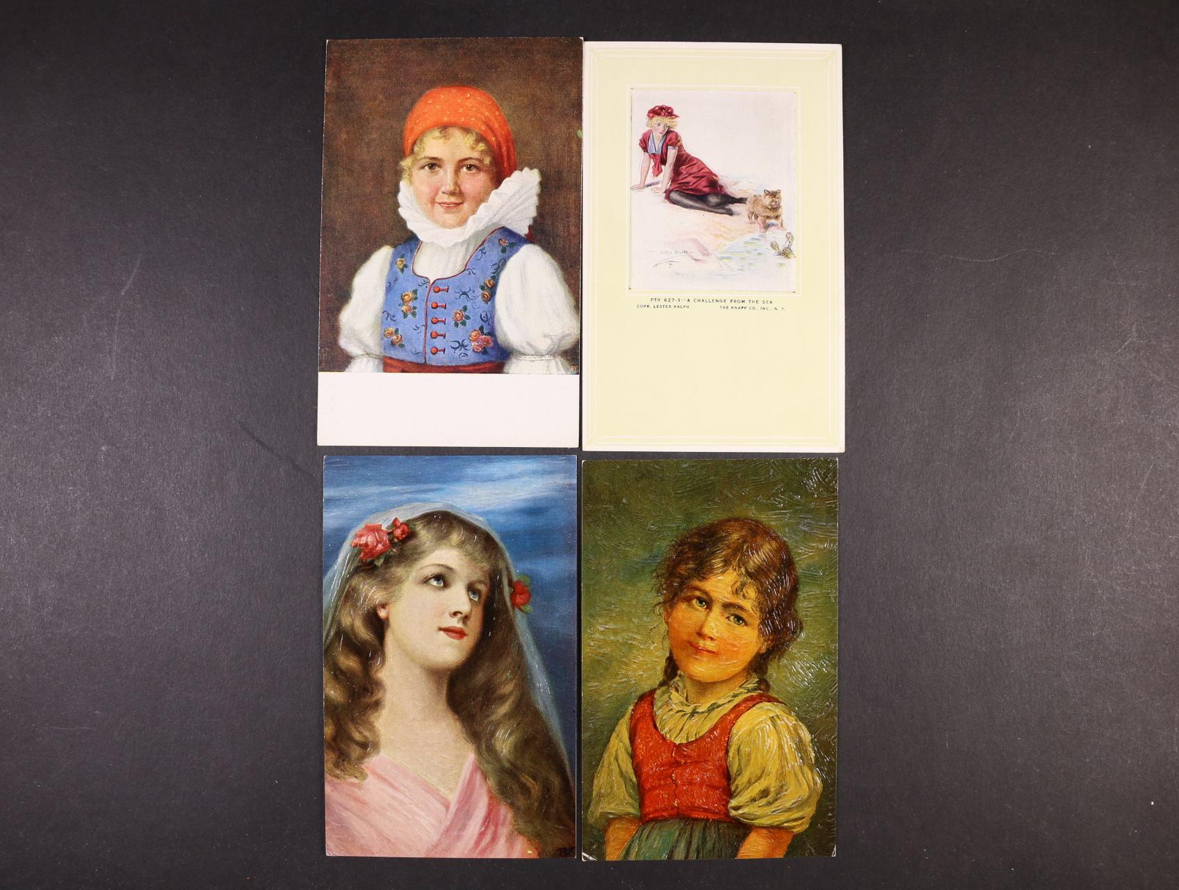 Umělecké sestava 40 ks převážně uměleckých pohlednic, bar. i jednobar, nepoužité, dobrá kvalita, uloženo na listech v platikovém šanonu