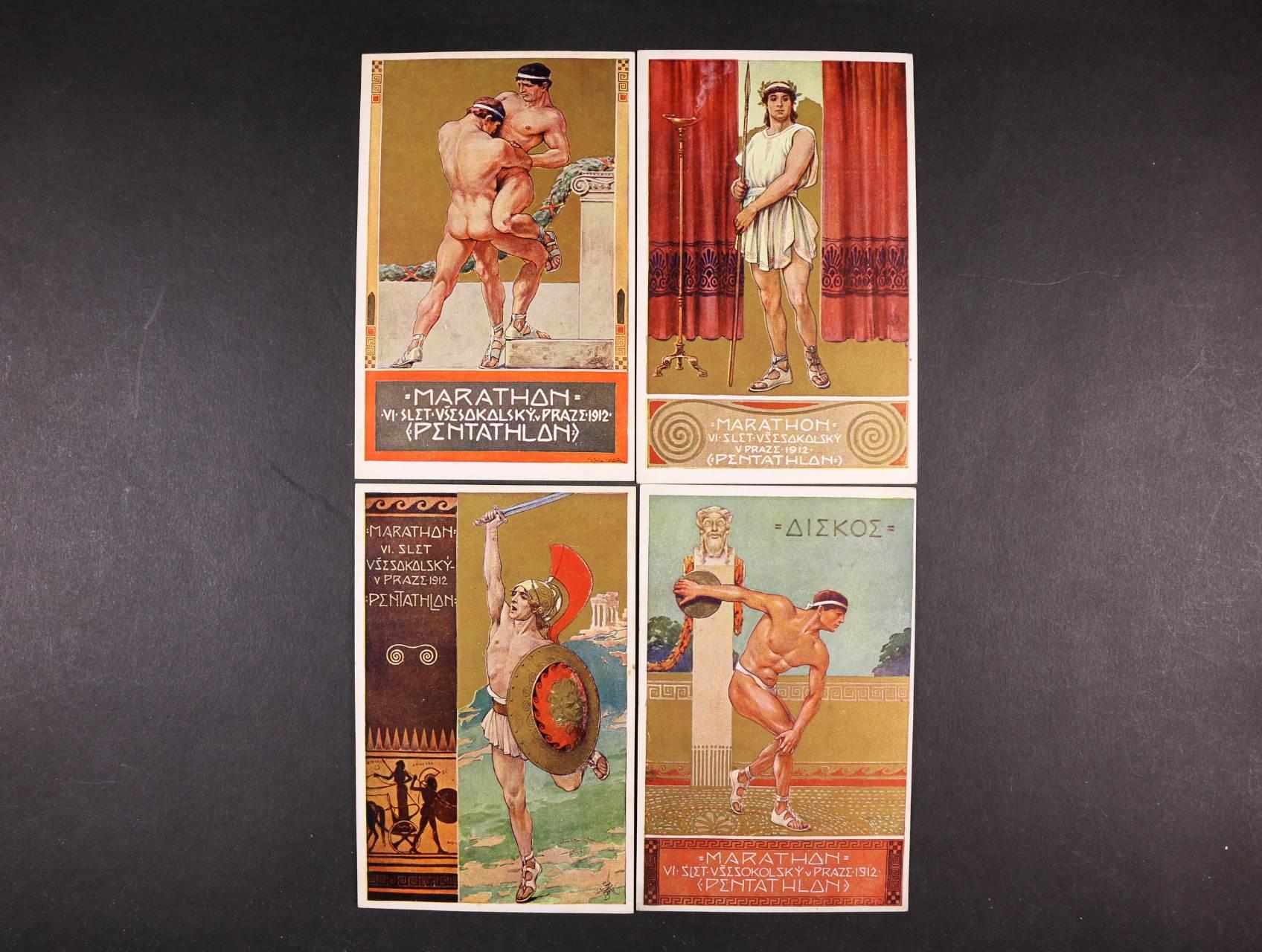 Všesokolský slet - sestava 6 ks bar. pohlednic