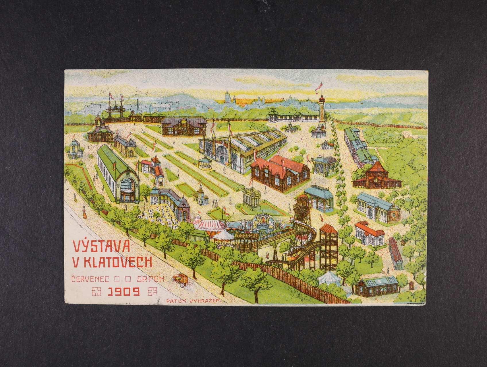 Výstavy  - Klatovy výstava 1909 - bar. pohlednice použitá 1909