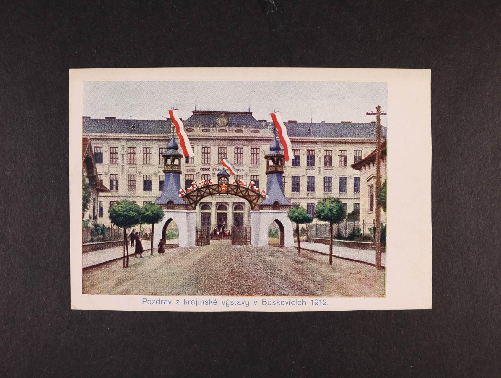 Výstavy - Boskovice krajanská výstava - bar. pohlednice, nepoužitá, dobrá kvalita
