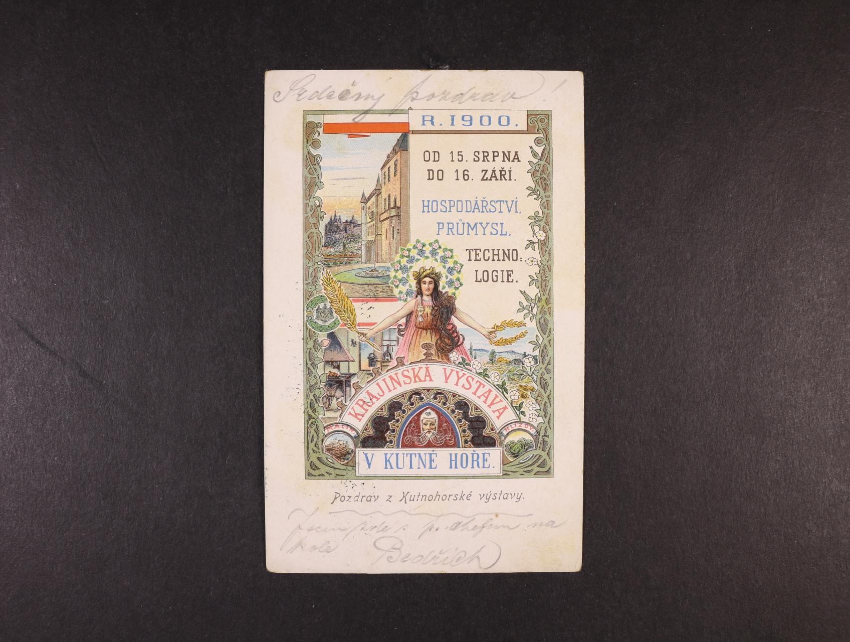 Výstavy - Kutná Hora Krajinská výstava 1900 - bar. litograf. koláž, dl. adresa, použitá 1900