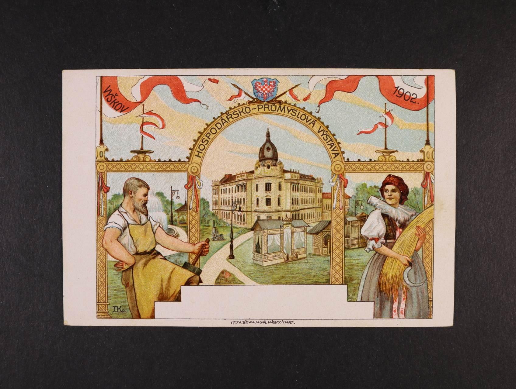 Výstavy - Vyškov Hospodářsko-průmyslová výstava 1902 - bar. litograf. koláž, dl. adresa, nepoužitá