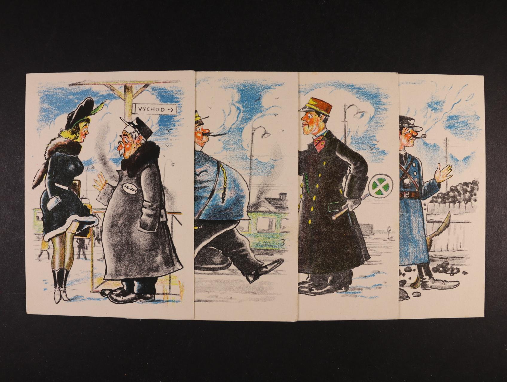 Železnice - kompl. sada 12 ks bar. pohlednic karikatur různých železničářských profesí, nepoužité