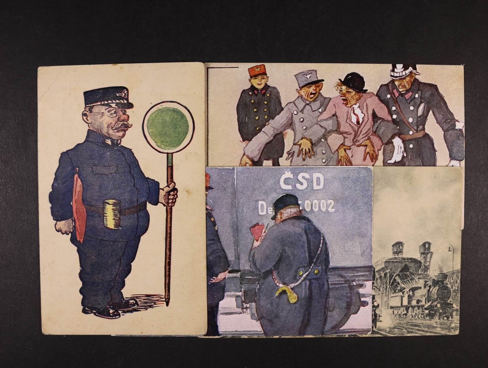 Železnice - sestava 25 ks jednobar. i bar. pohlednice s námětem vlaky, nepoužité