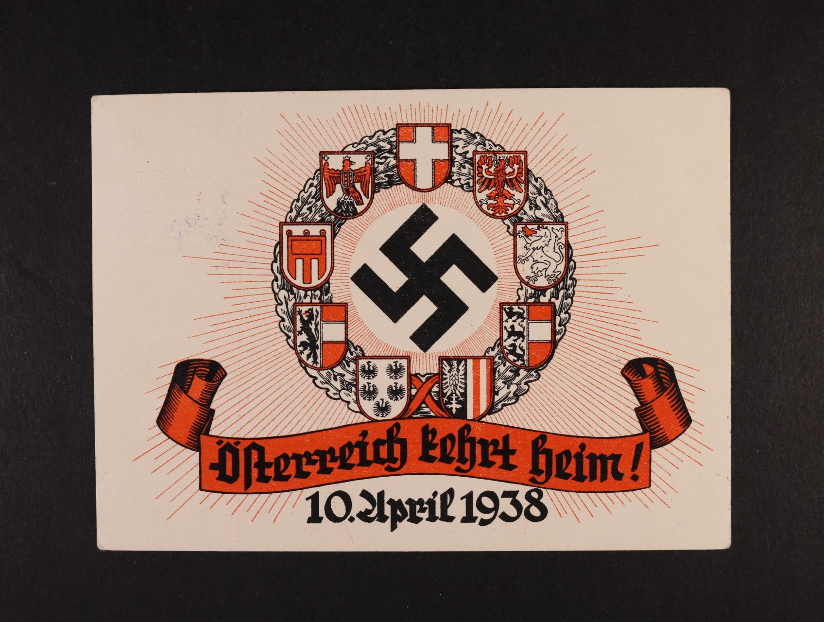 bar. pohl. Österreich Kehrt Heim! 10. April 1938 se zn. a pam. raz., nepoužitá