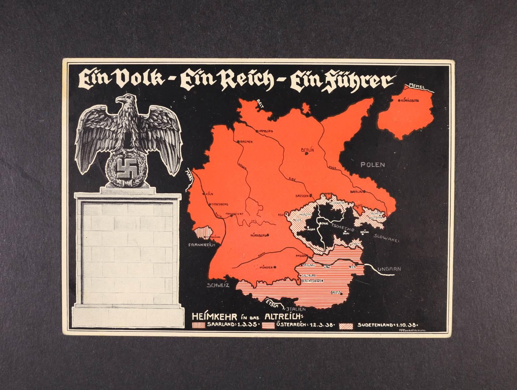 bar. pohlednice Ein Volk, Ein Reich, Ein Führer, nepoužitá s pam. raz. na zadní straně, dobrá kvalita