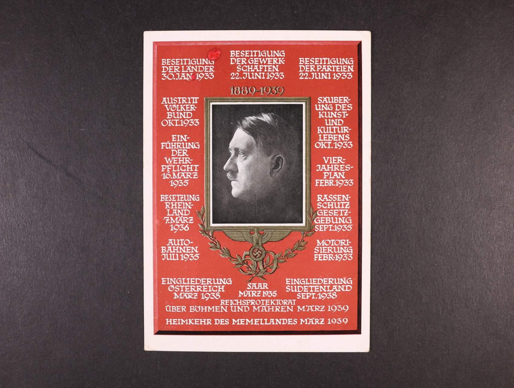 bar. pohlednice s portrétem A.H. 1889 - 1939, nepatrně poškozená, použitá