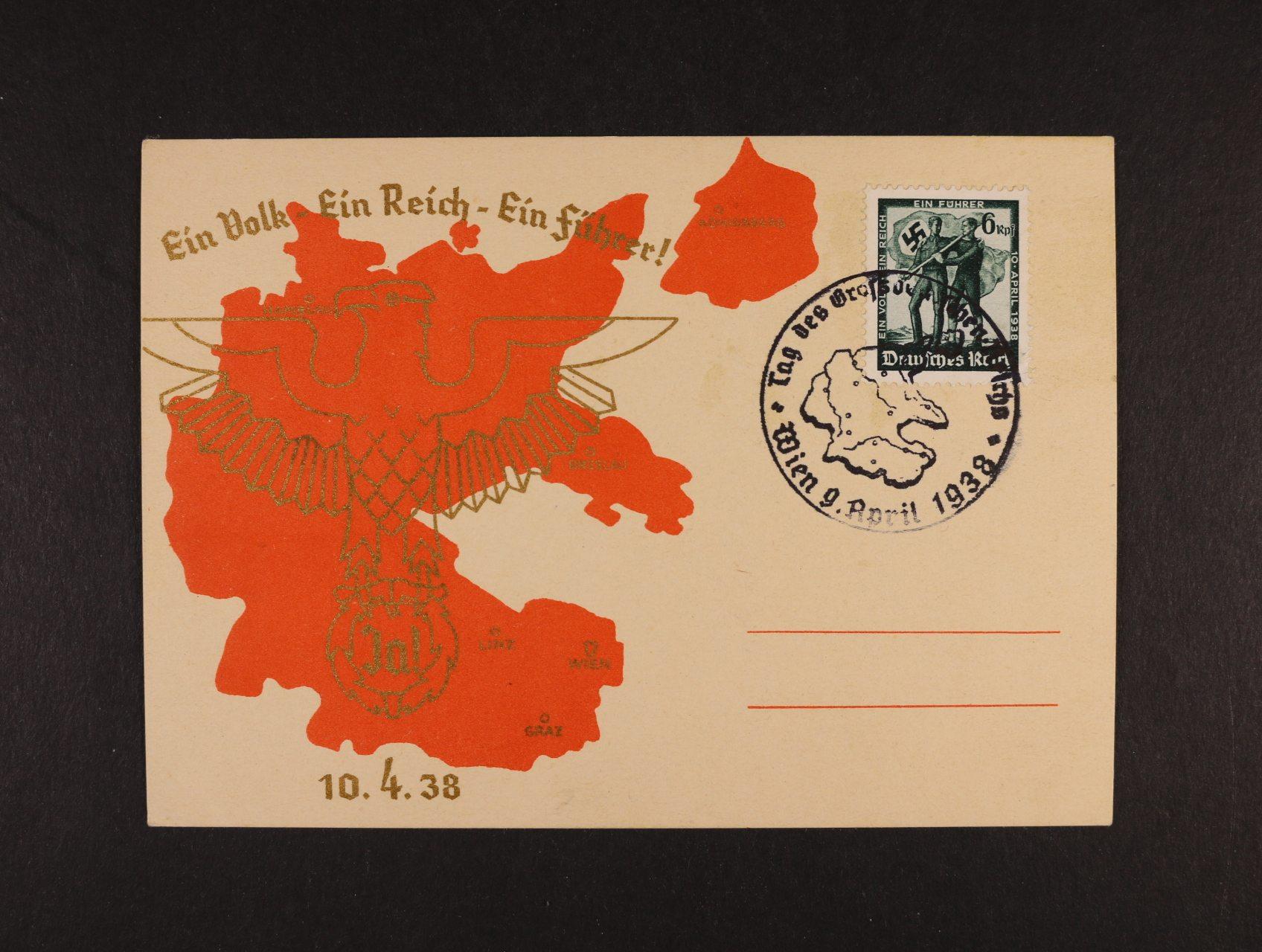 dvoubar. pohlednice Ein Volk - Ein Reich - Ein Führer 10.4.1938 se zn. a pam. raz. neprošlá