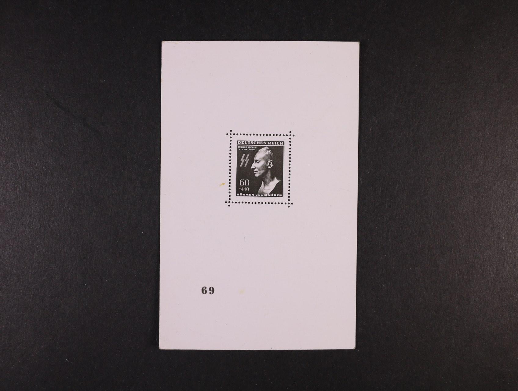 fotopohlednice s kopií Heidrichova aršíku s číslem 69, nepoužitá