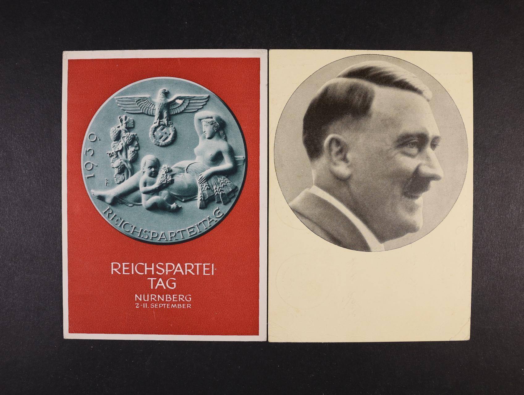 jednobar. pohlednice s portrétem A.H. a bar. pohlednice