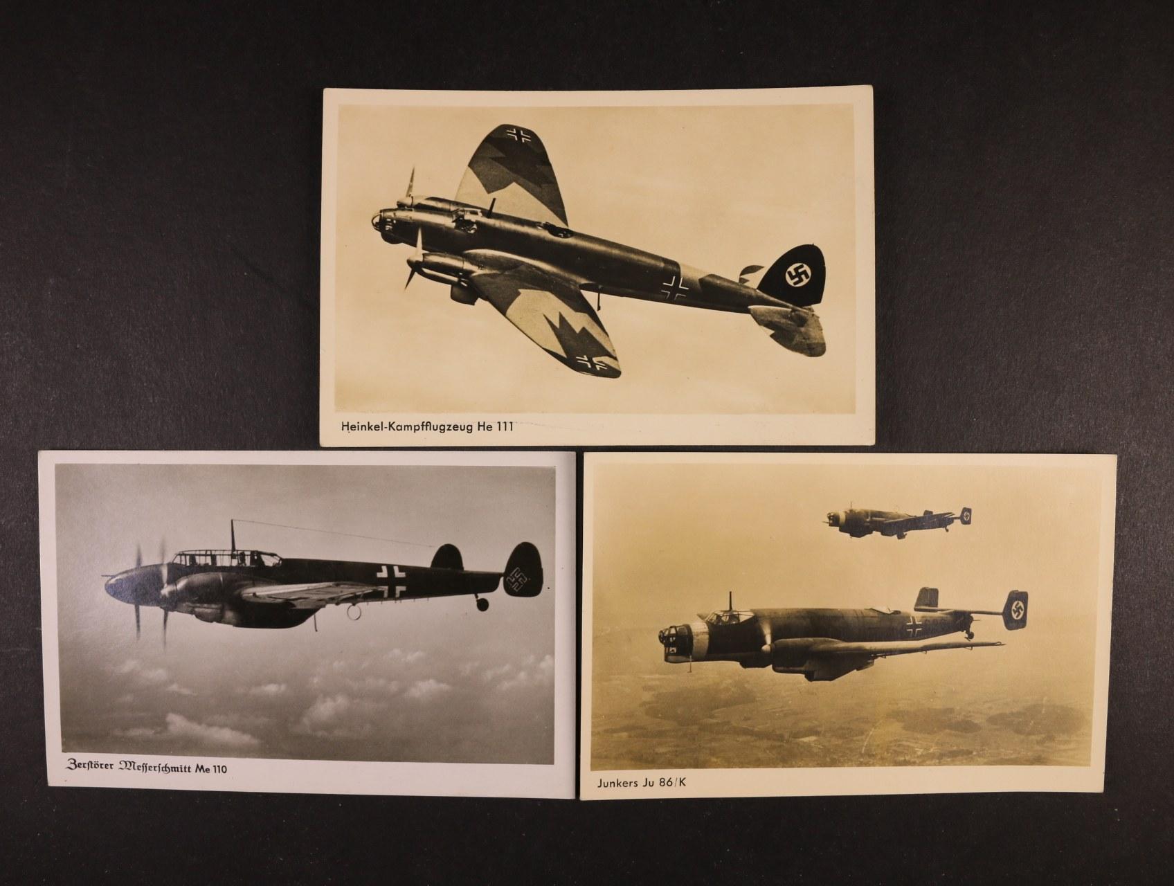 sestava 3 ks fotopohlednic s letadly Me 110, Ju 86/K, He 111, nepoužité