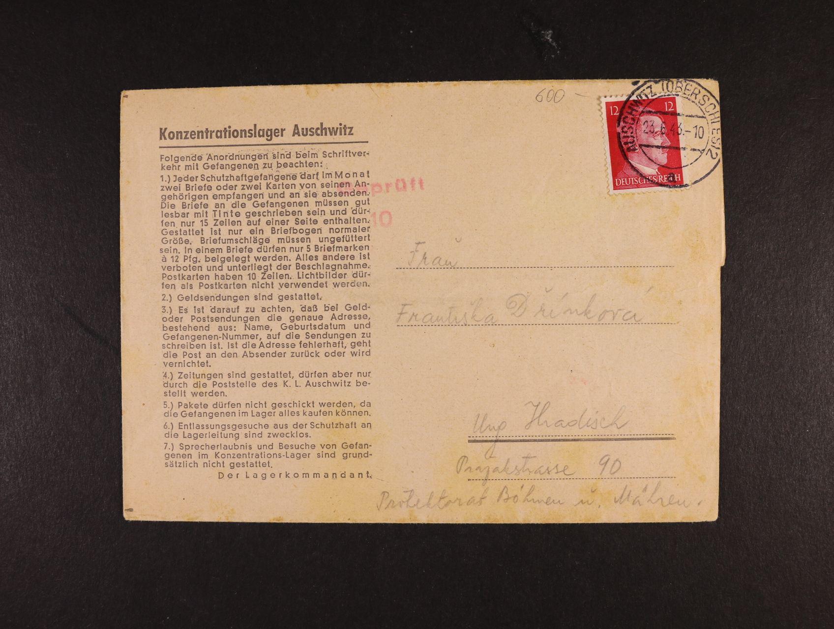 Auschwitz - oficielní skl. dopis do Uh. Hradiště frank. zn. 12pf A.H. s raz. AUSCHWITZ OBERSCHLES 2 23.6.43