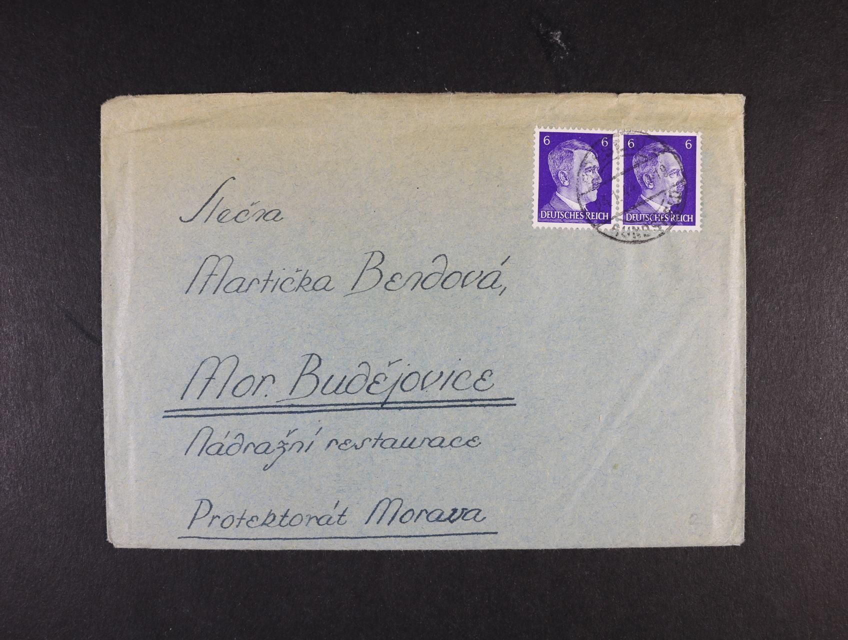 Breslau - obálka vč. dopisu do Mor. Budějovic frank. dvoupáskou zn. 6pf A.H. s raz. BRESLAU 24.1.44, dobrá kvalita