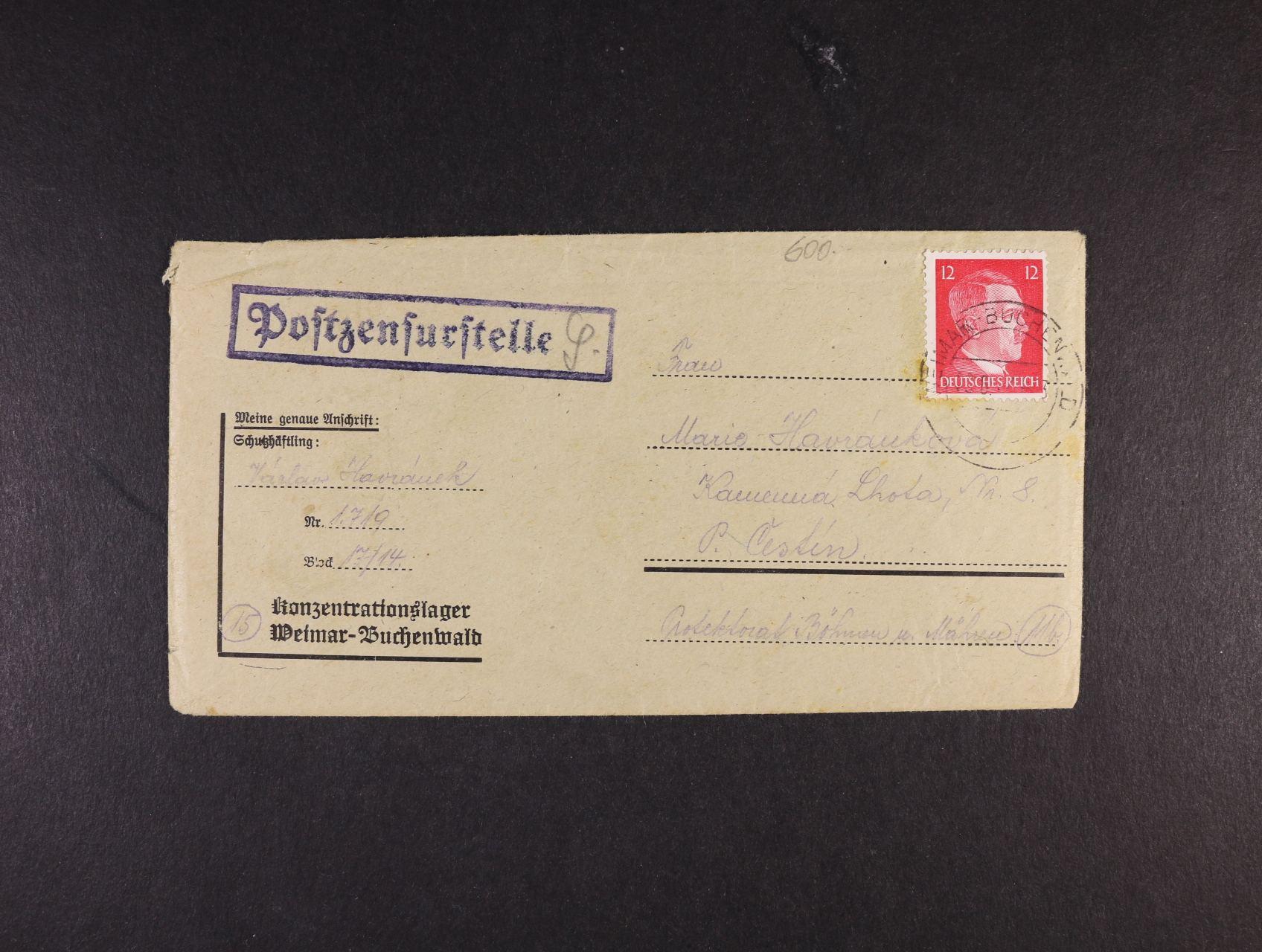 Buchenwald - oficielní obálka vč. obsahu frank. zn. 12pf A.H., pod. raz. WEIMAR - BUCHENWALD 19.6.44 + cenzurní raz.