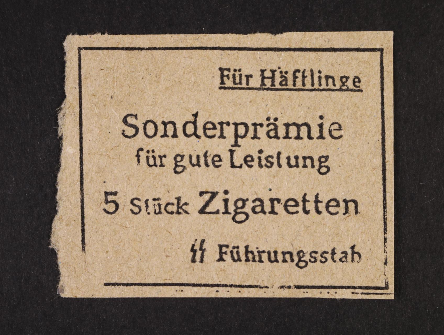 Buchenwald - prémiová poukázka na 5 cigaret, na zadní str. kulaté raz. KL BUCHENWALD, zajímavé
