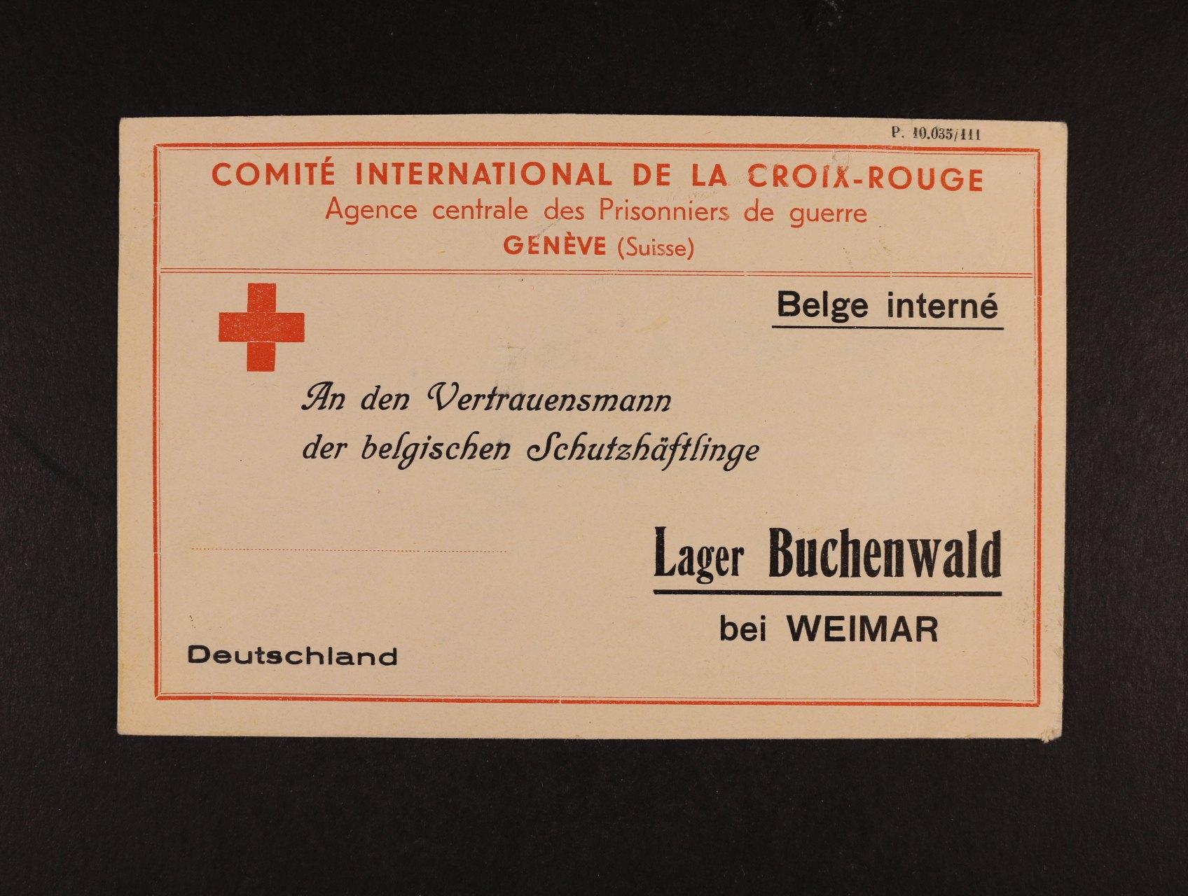 Buchenwald - předtištěná identifikační karta Červeného kříže pro belgické zajatce
