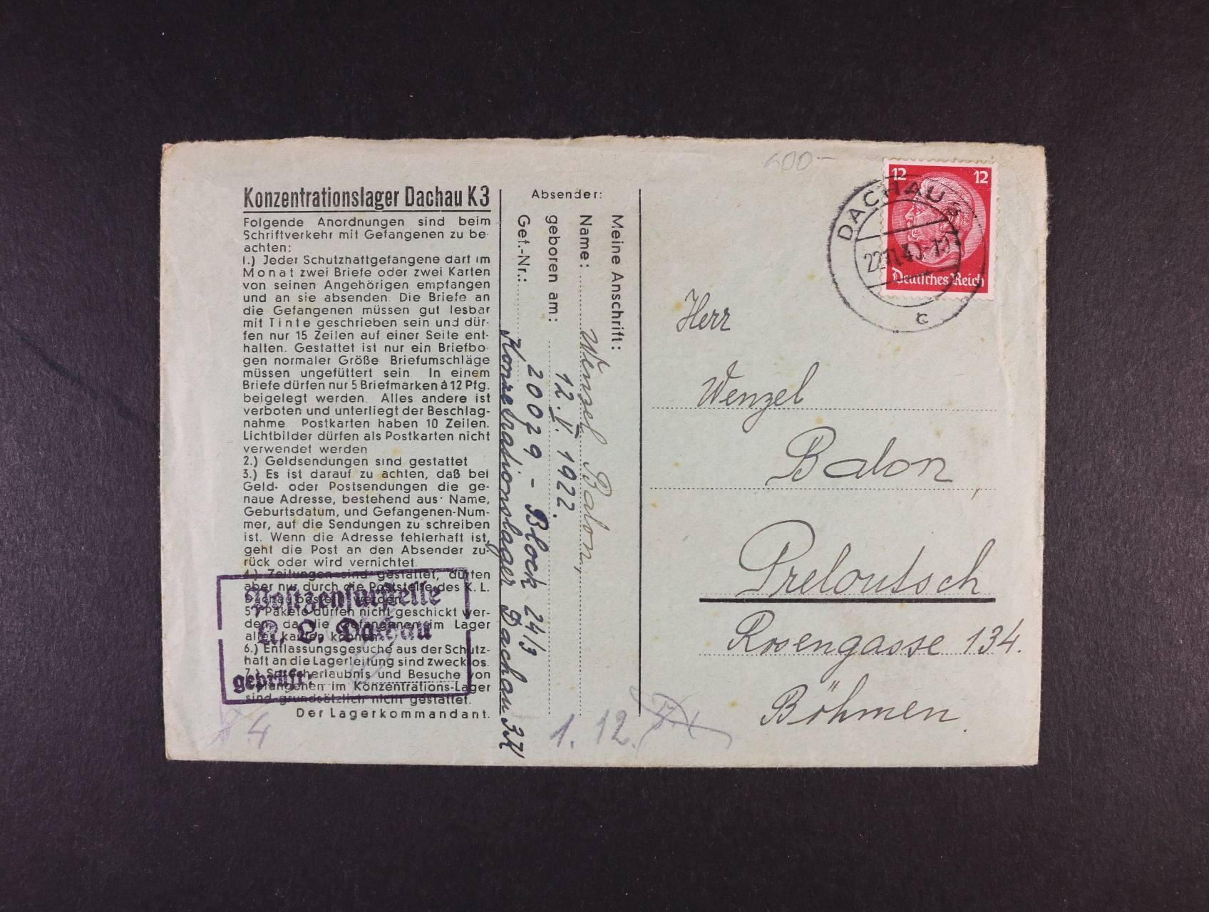 Dachau - oficielní obálka vč. obsahu do Přelouče frank. zn. 12pf Hindenburg, pod. raz. DACHAU 22.11.40 + rámeč. cenzurní raz.