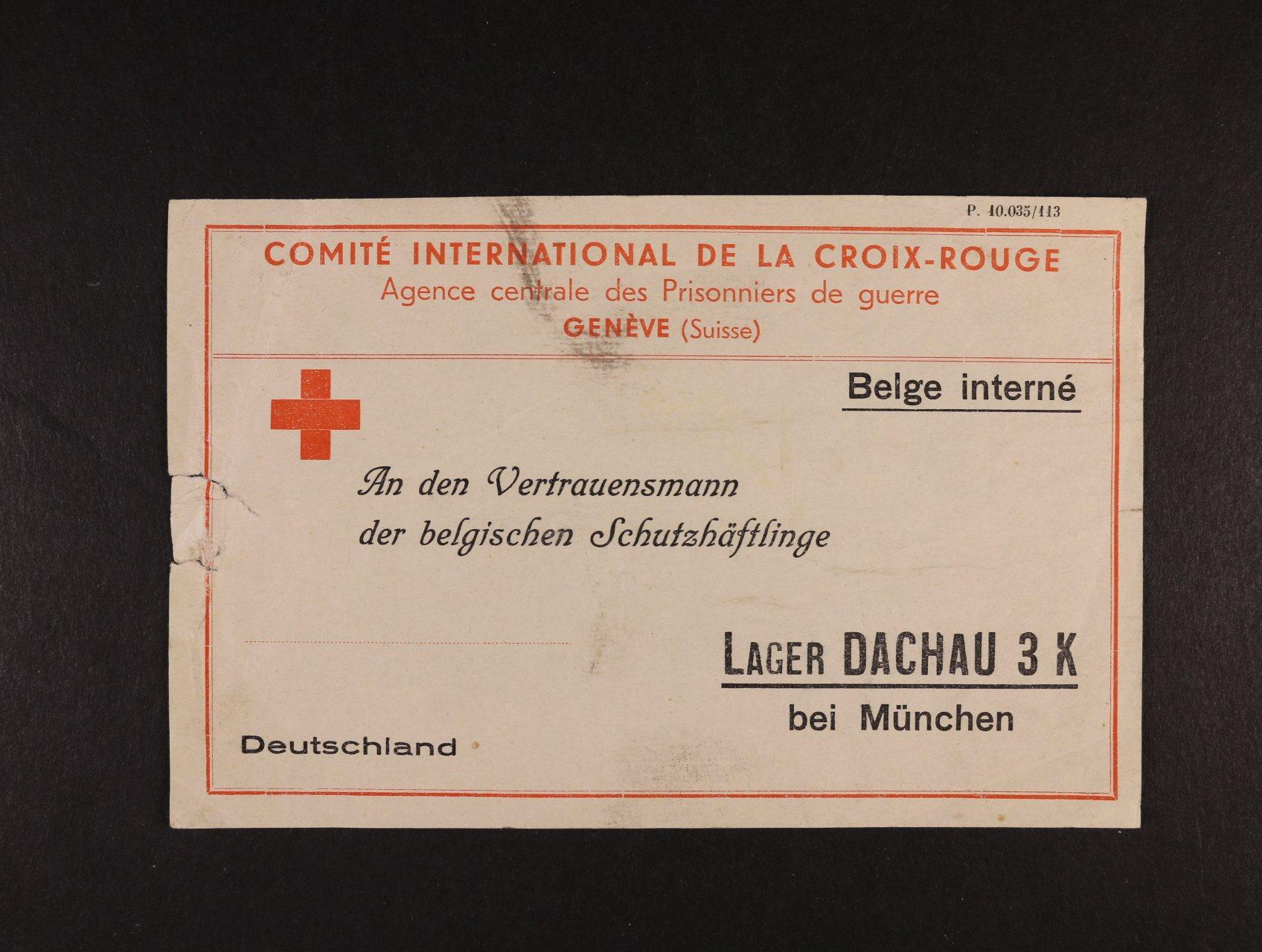 Dachau - předtištěná identifikační karta Červeného kříže pro belgické zajatce, na levém okraji natržená