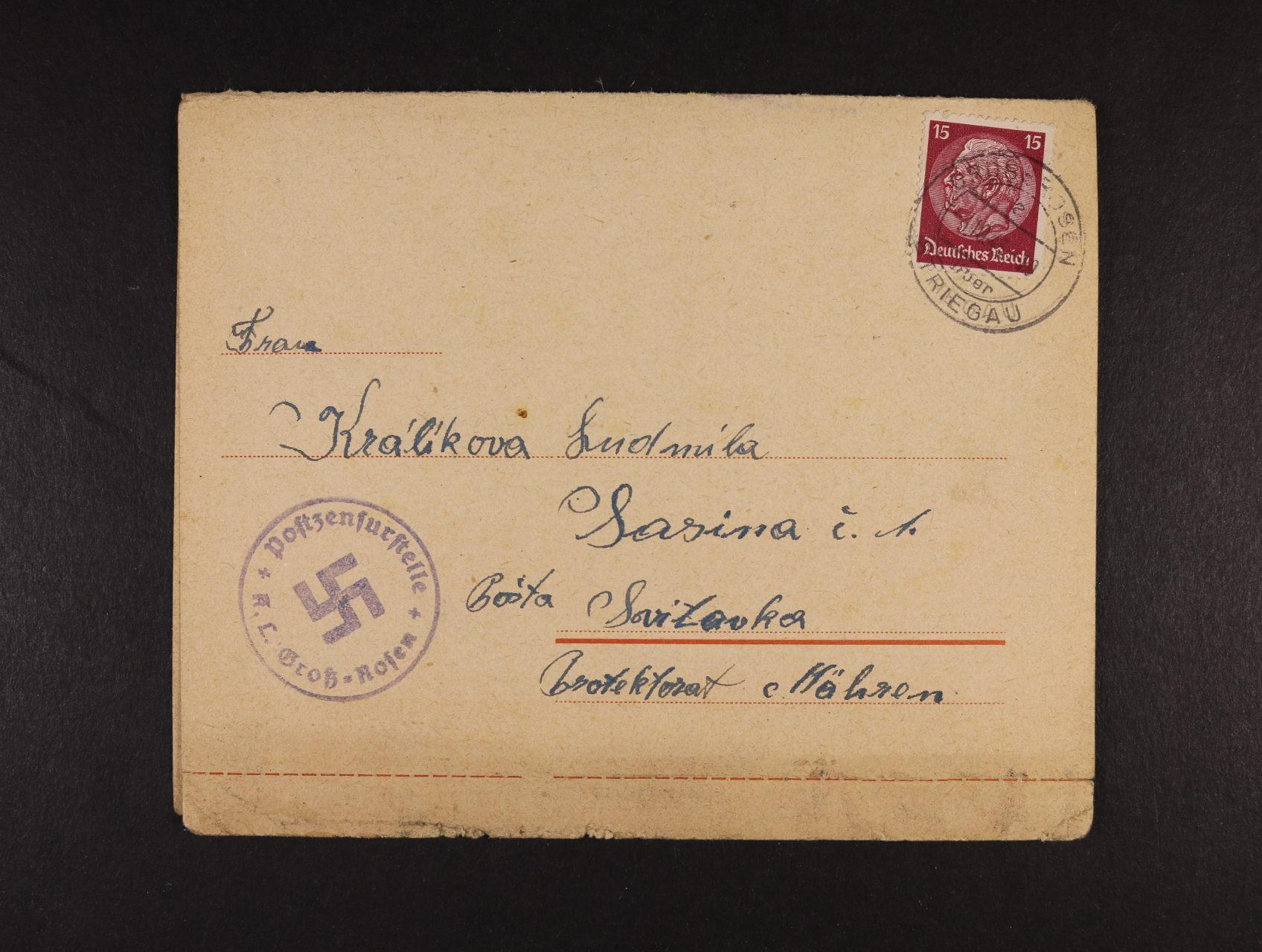 Grossrosen - kompl. předtištěná zálepka frank. zn. 15pf Hindenburg, pod. raz. GROSSROSEN 3.10.43 + černomodré cenzurní raz.
