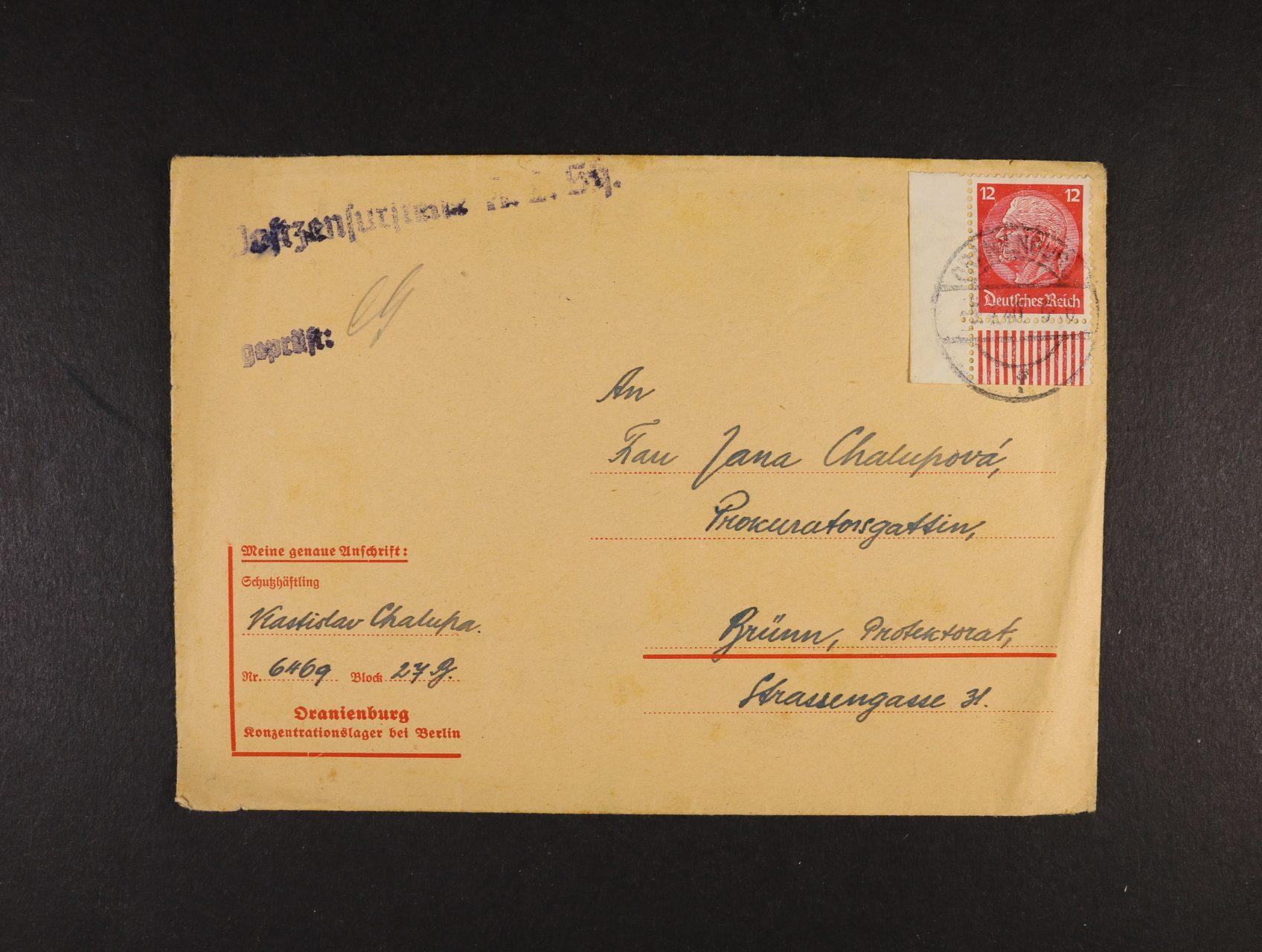 Oranienburg - oficielní předtištěná obálka do Protektorátu frank. zn. 12pf Hindenburg, pod. raz. ORANIENBURG 3.4.40 + řádkové cenzurní raz., dobrá kvalita