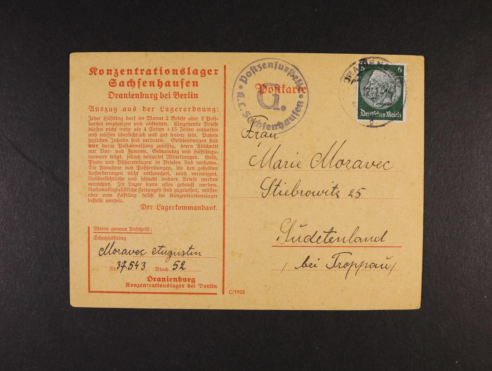 Sachsenhausen - oficielní předtištěný KL zaslaný do Opavy, pod. raz. ORANIENBURG 21.12.41 + přídavné cenzurní raz. K.L. SACHSENHAUSEN G., lux. kvalita