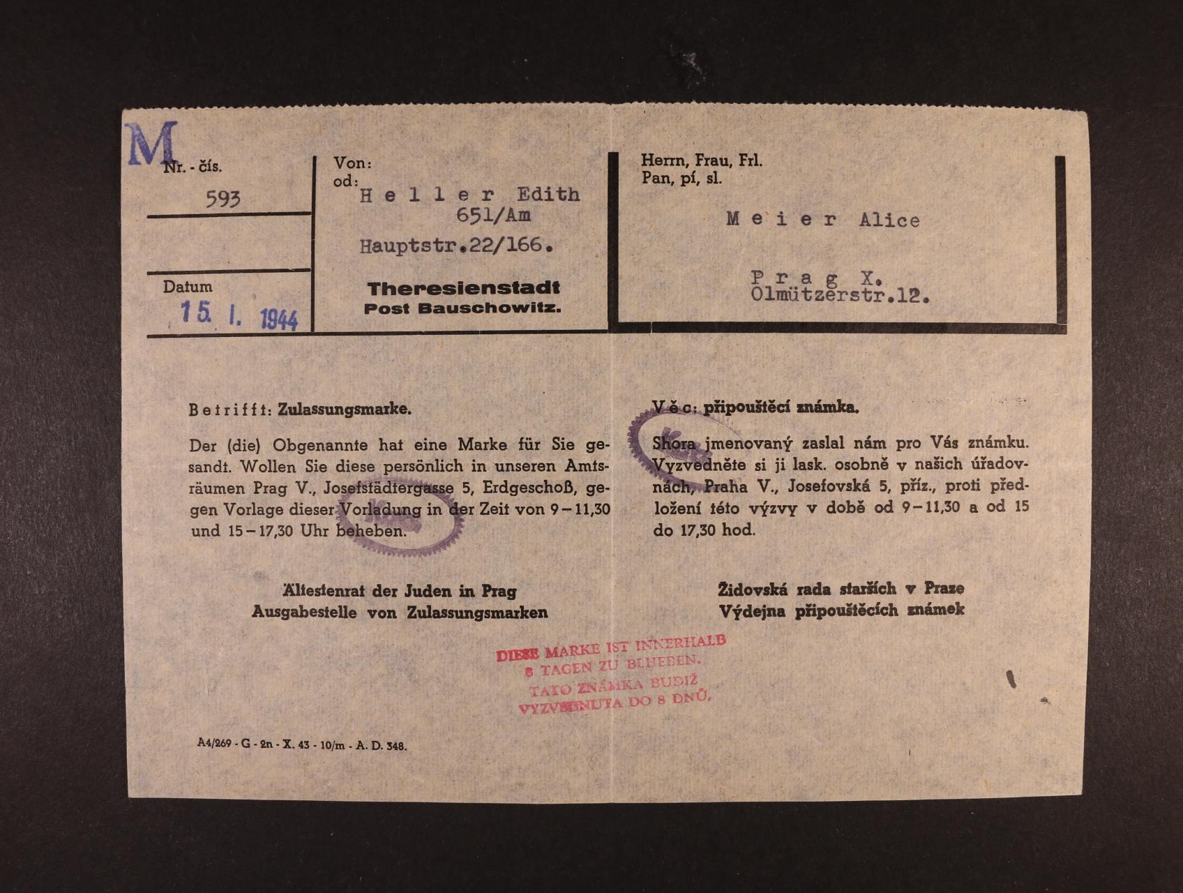 Theresienstadt - dvojjazyčný formulář k připouštěcí známce vystavený 15.1.1944, zajímavé, dobrá kvalita
